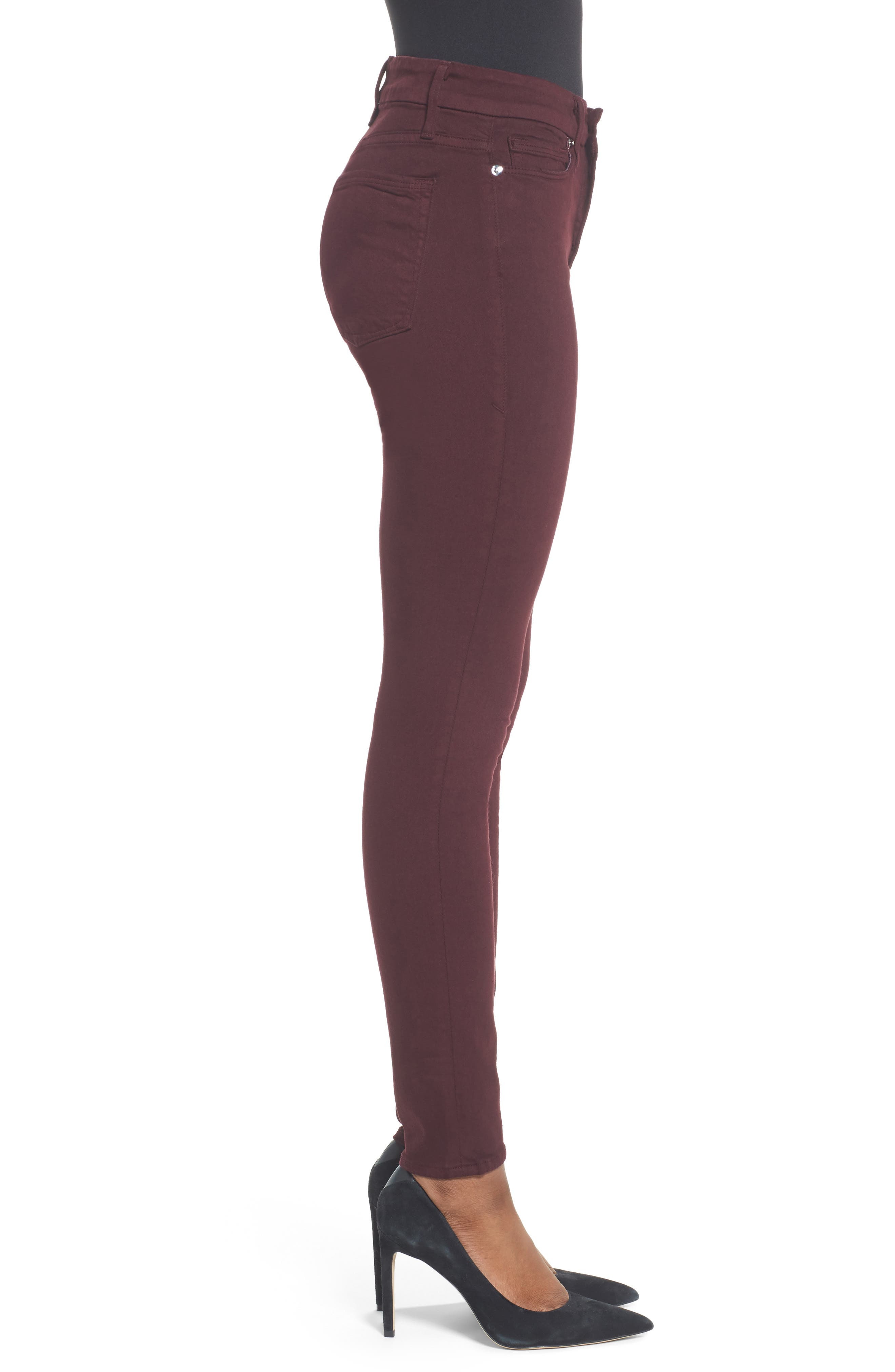 Good Legs High Waist Skinny Jeans,                             Alternate thumbnail 3, color,                             Burgundy