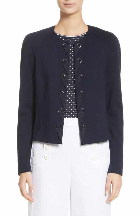 St. John Collection Ribbon Trim Milano Knit Cardigan
