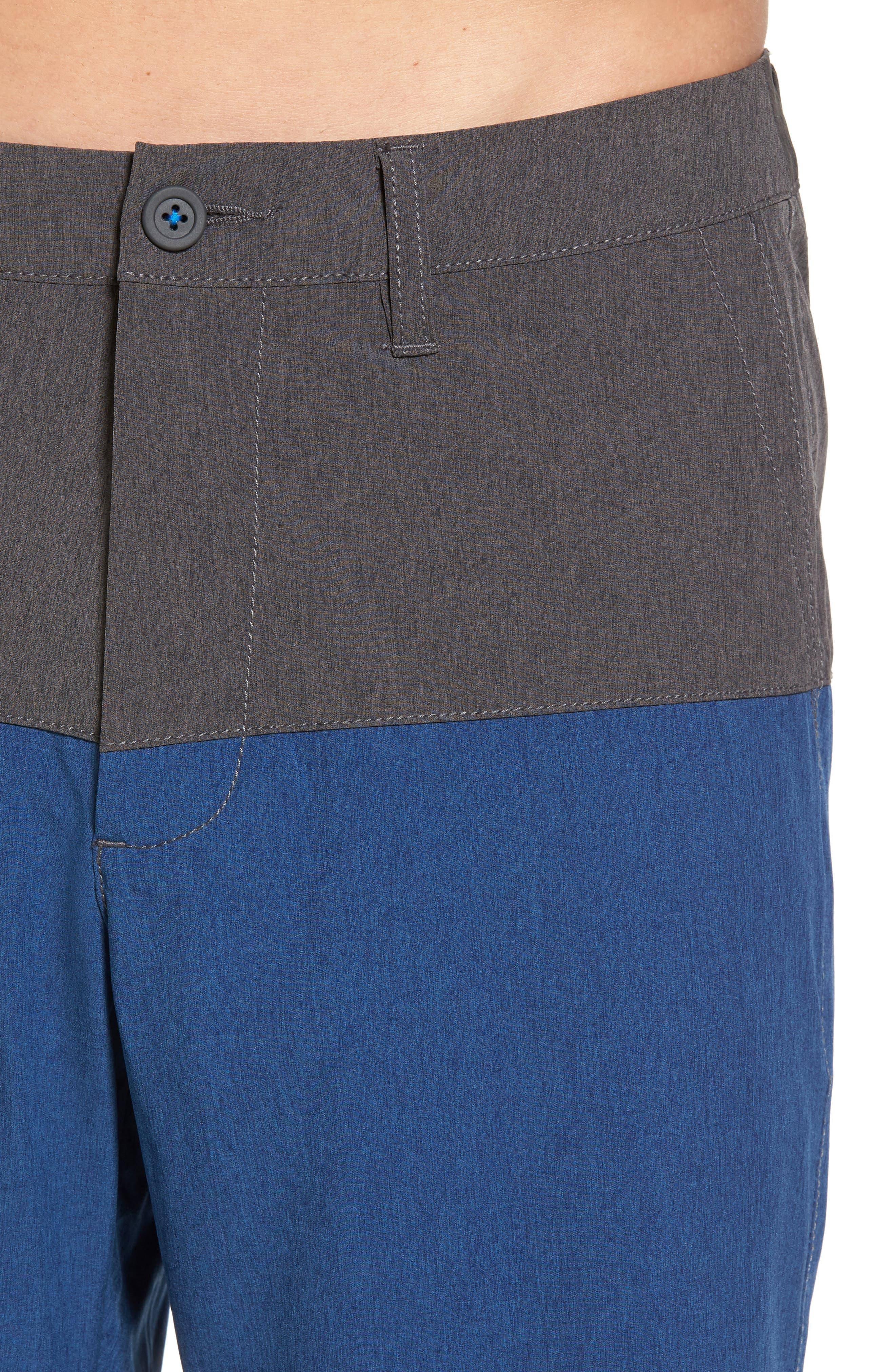 Cayman Block & Roll Hybrid Swim Shorts,                             Alternate thumbnail 4, color,                             Deep Marine