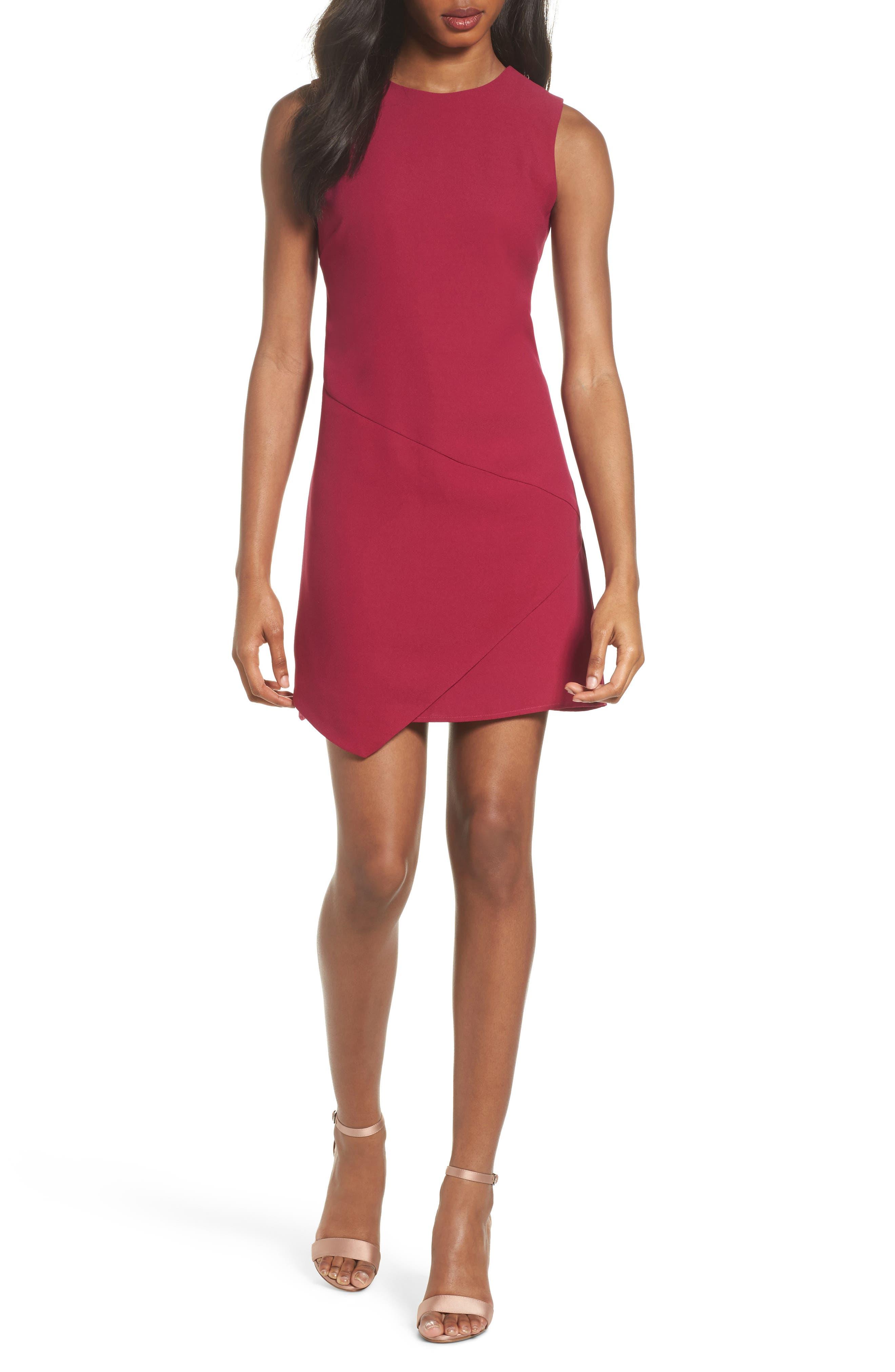 Asymmetric Minidress,                         Main,                         color, Raspberry