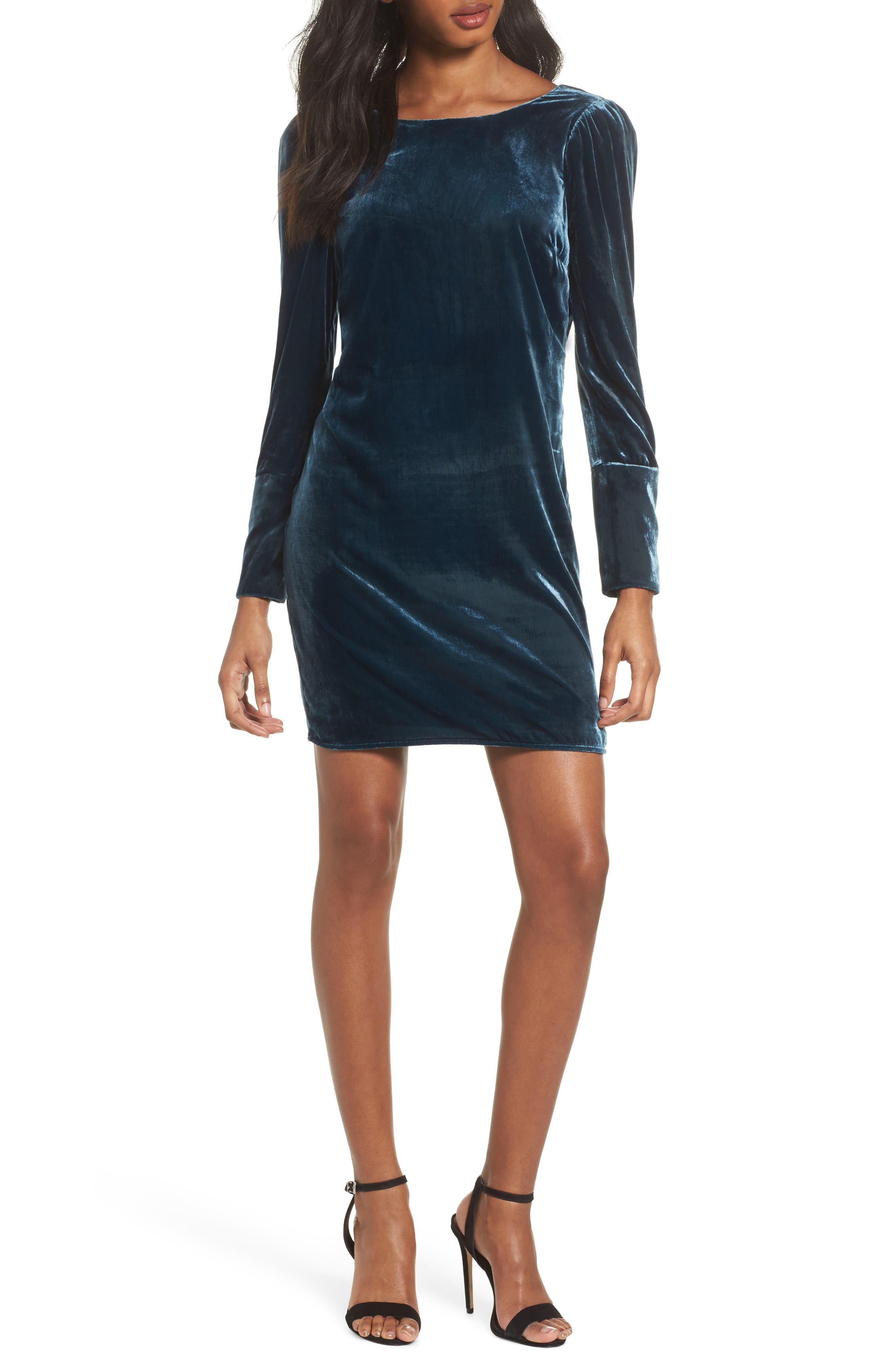 Velvet Sheath Dress,                             Main thumbnail 1, color,                             Deep Teal