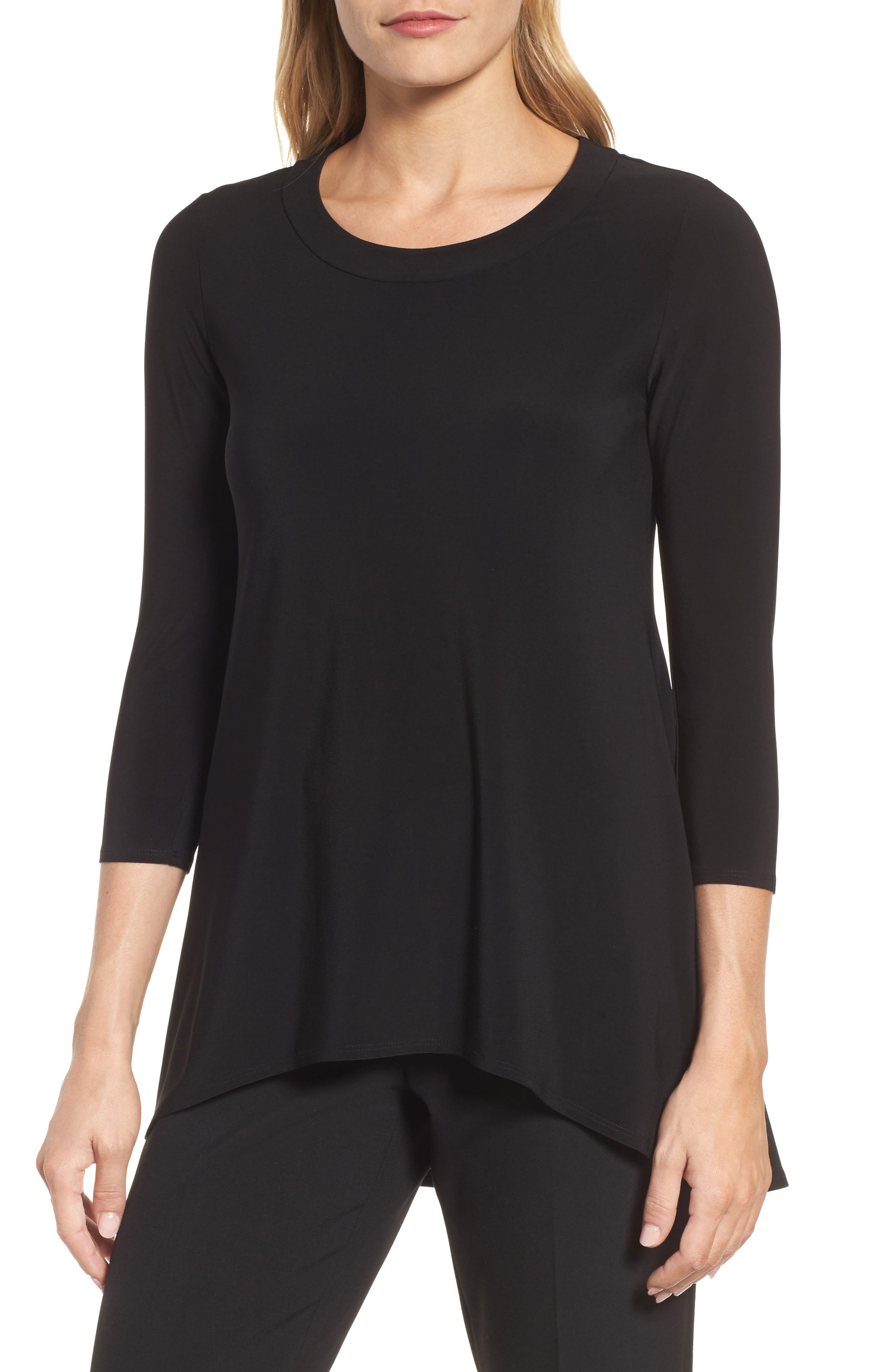 High/Low Knit Top,                         Main,                         color, Black