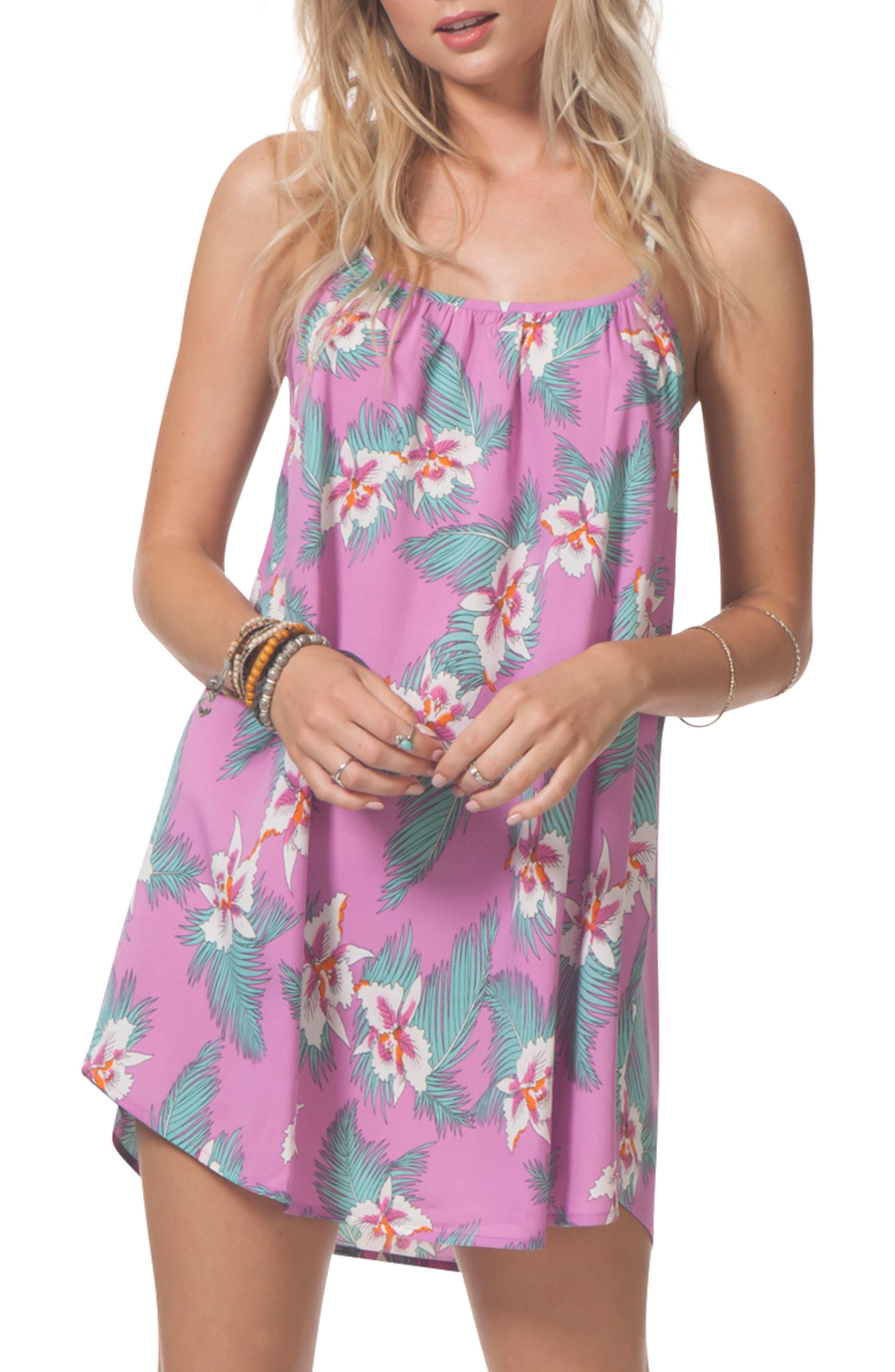 Hot Shot Floral Cover-Up Dress,                         Main,                         color, Purple