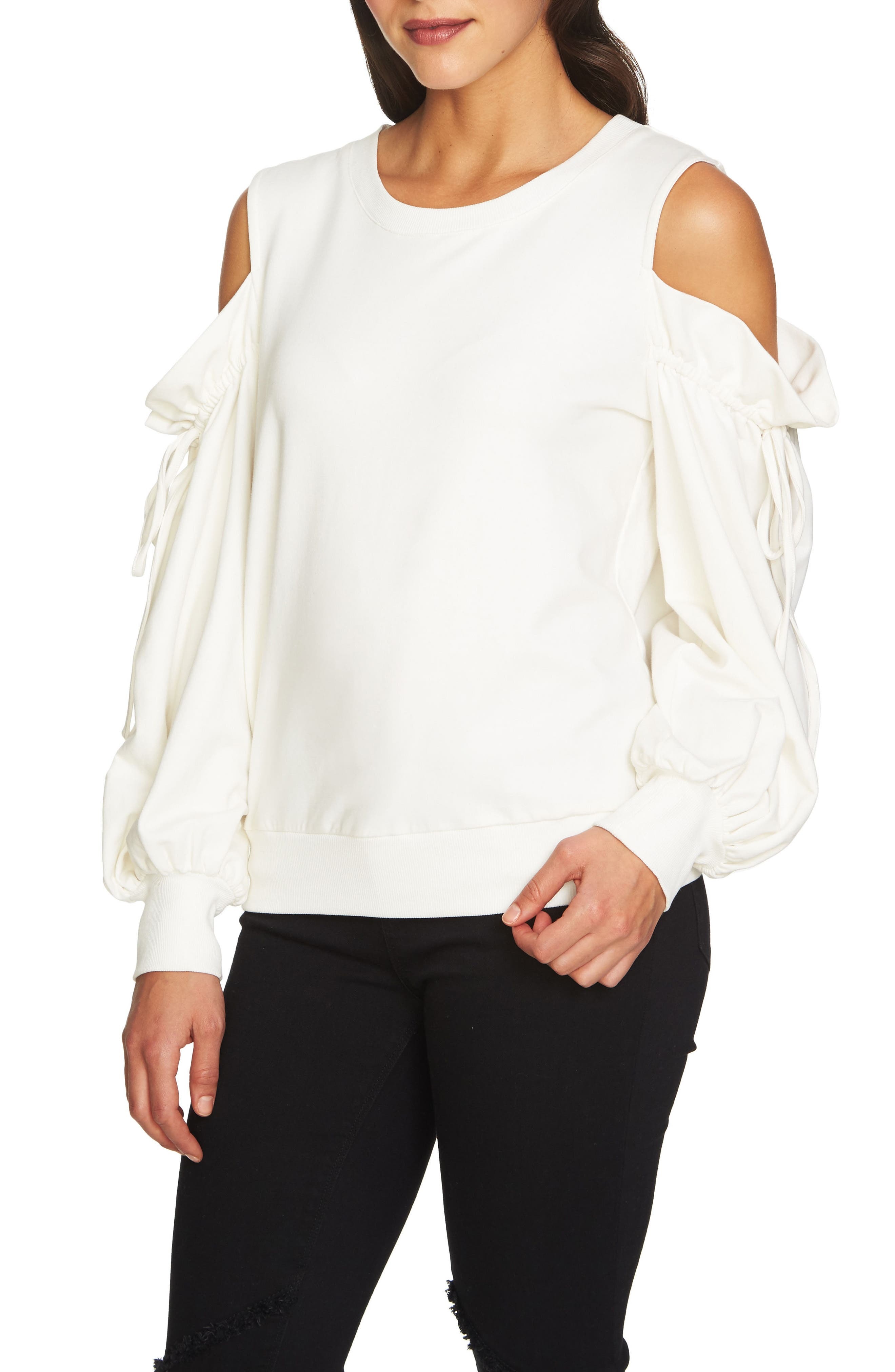 Cold Shoulder Blouson Sweater,                         Main,                         color, New Ivory