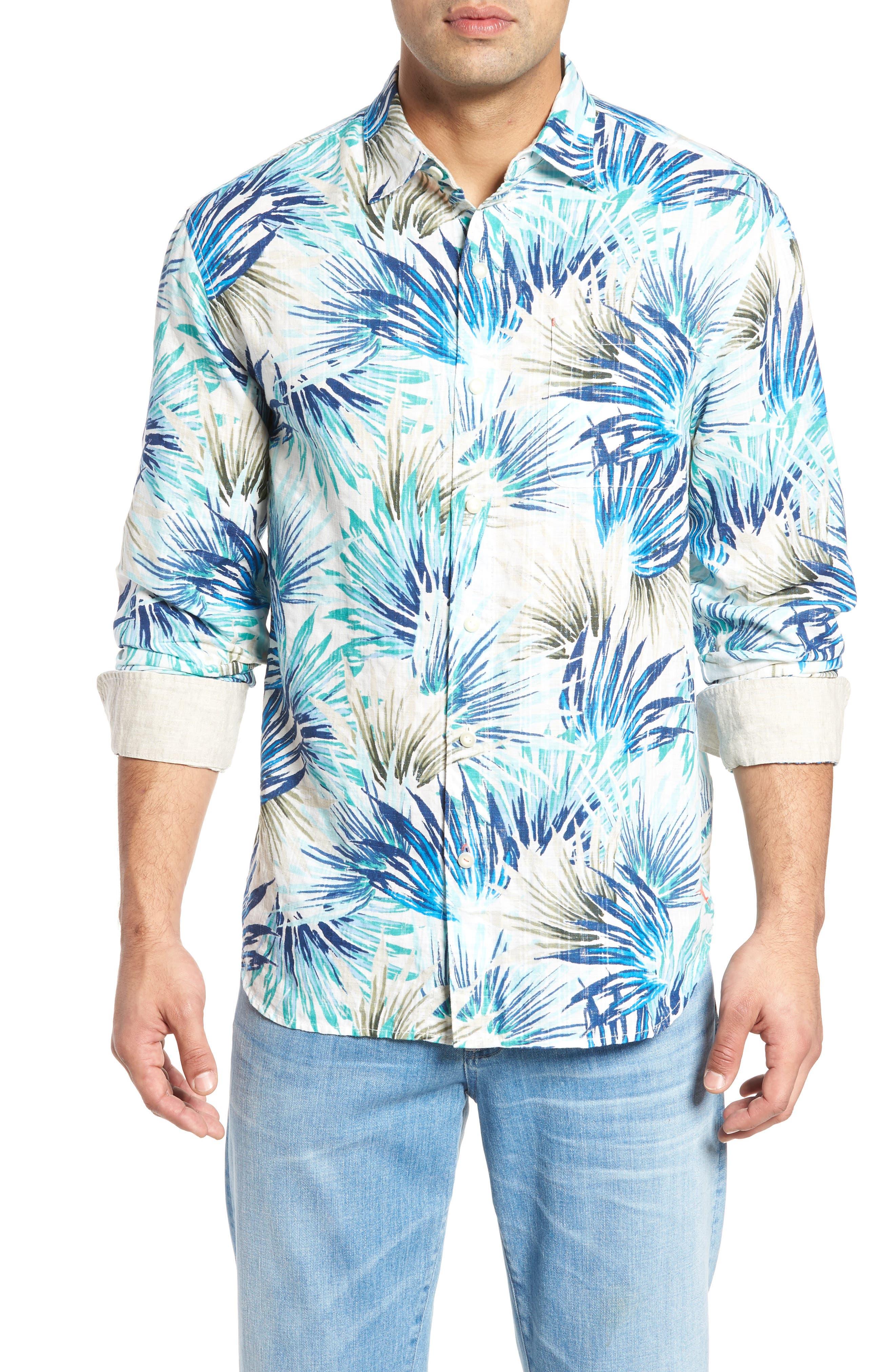 Prism Palms Linen Blend Sport Shirt,                         Main,                         color, Kingdom Blue