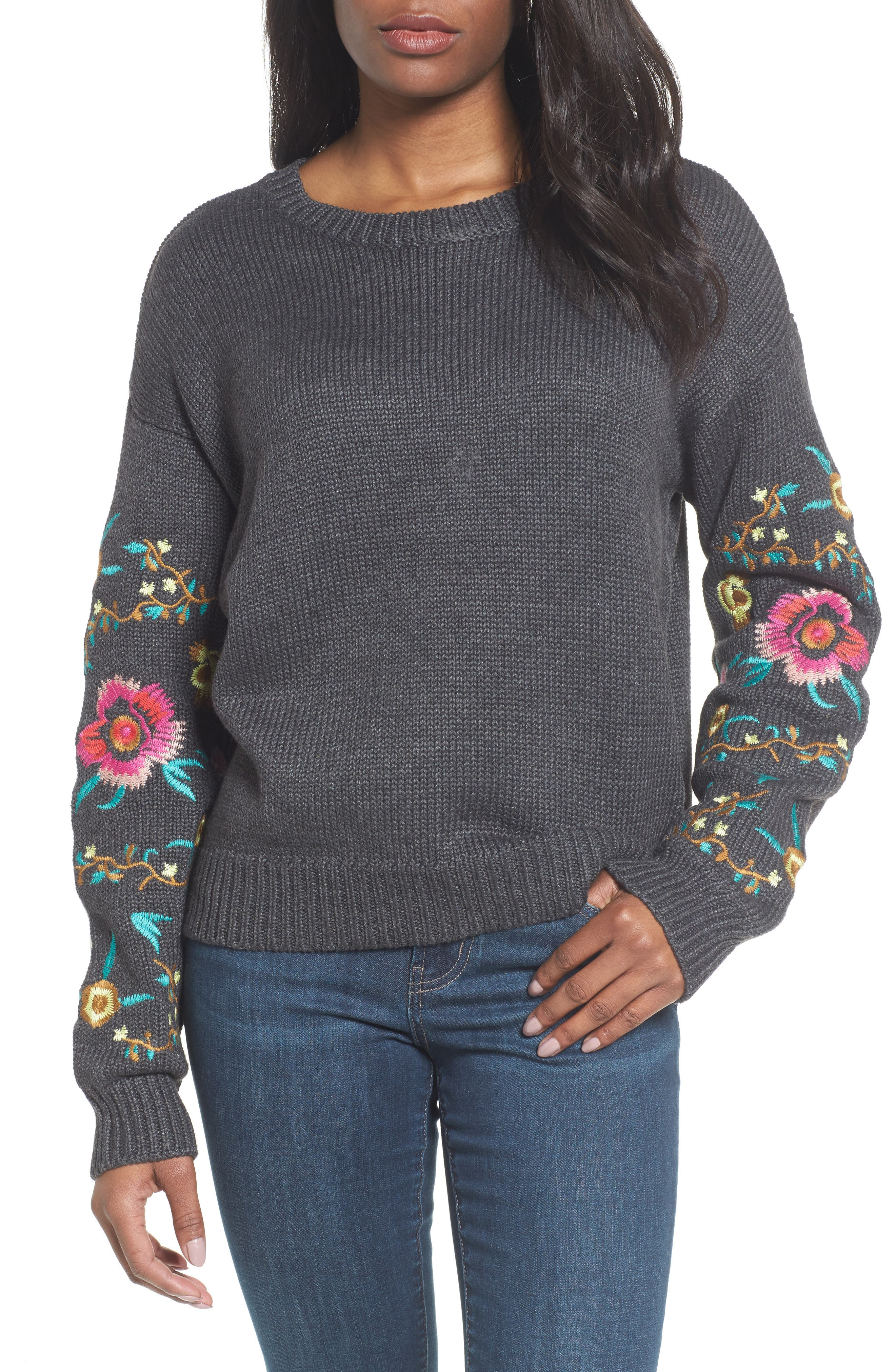 Floral Sleeve Sweater,                             Main thumbnail 1, color,                             Grey