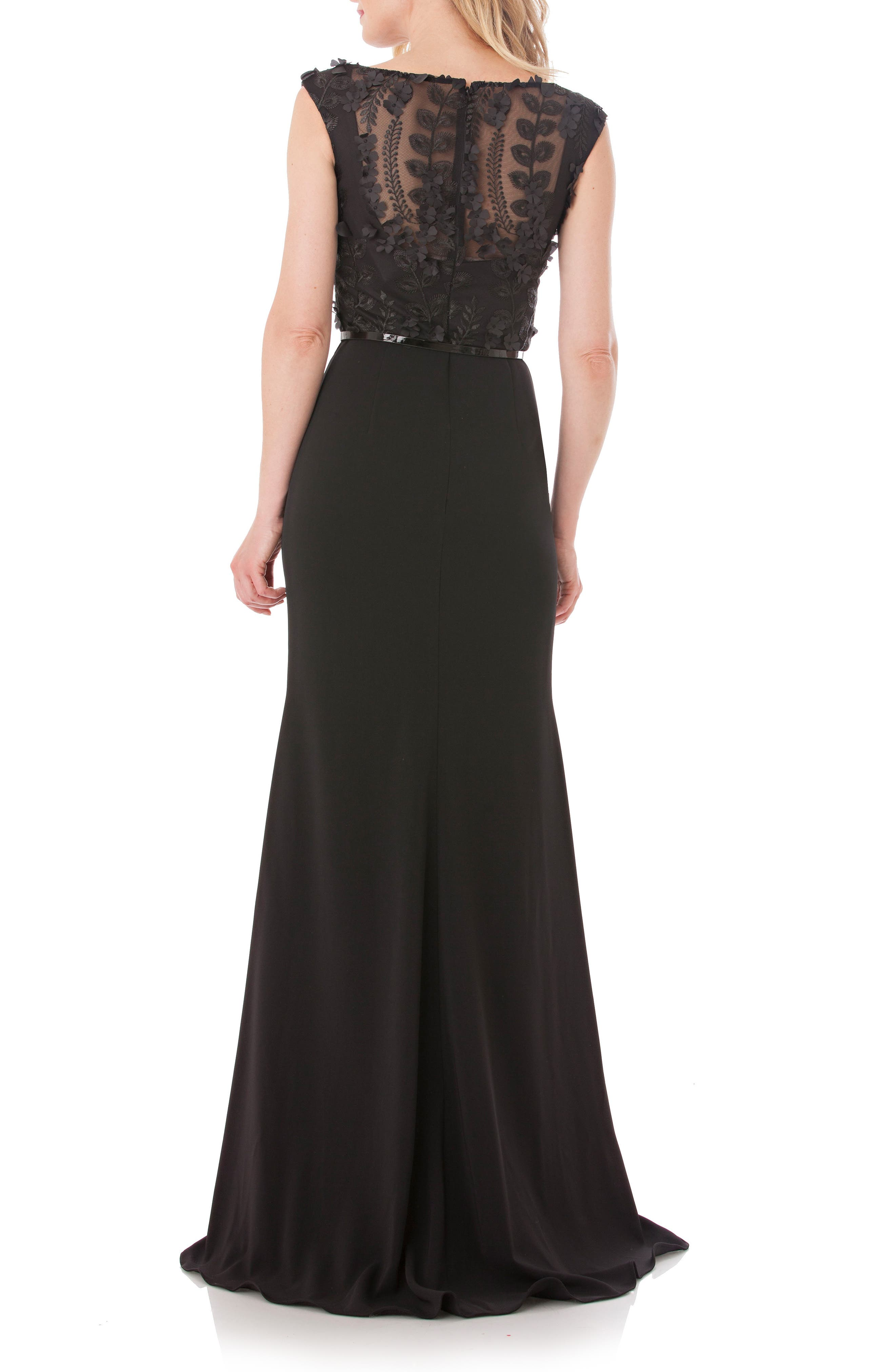 Embroidered Bodice Crepe Gown,                             Alternate thumbnail 2, color,                             Black