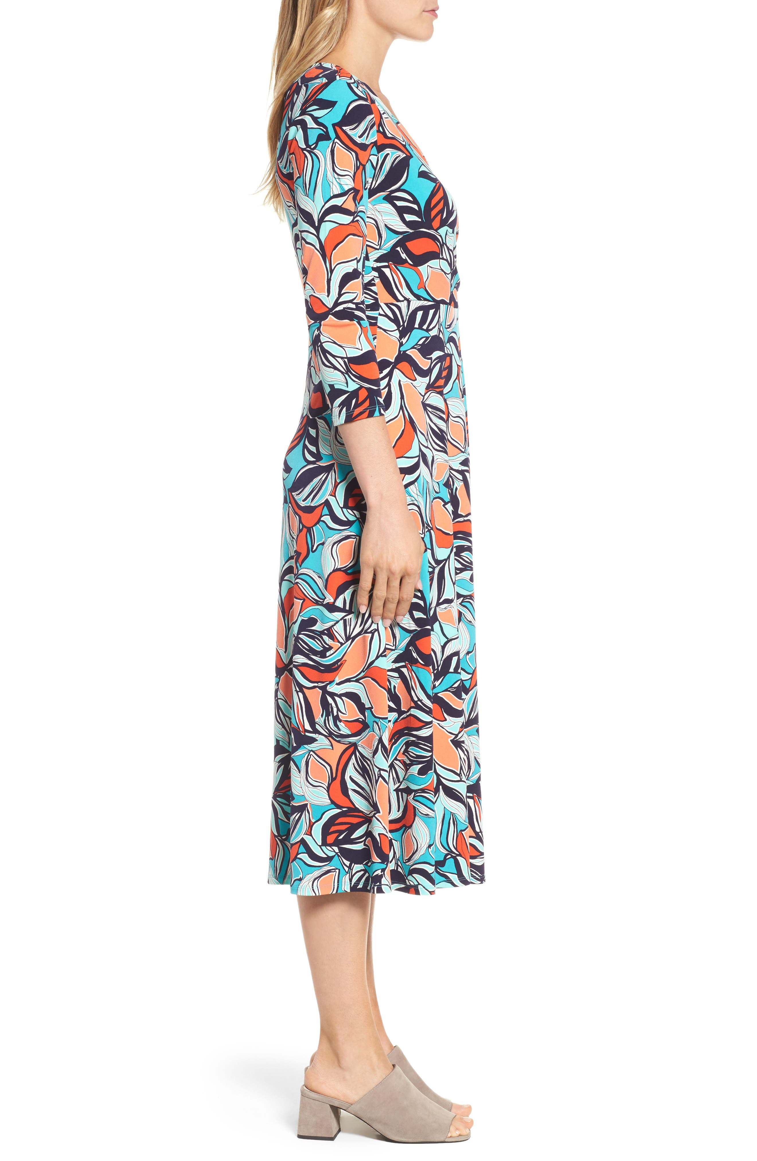 Floral Faux Wrap Midi Dress,                             Alternate thumbnail 3, color,                             Sea Glass
