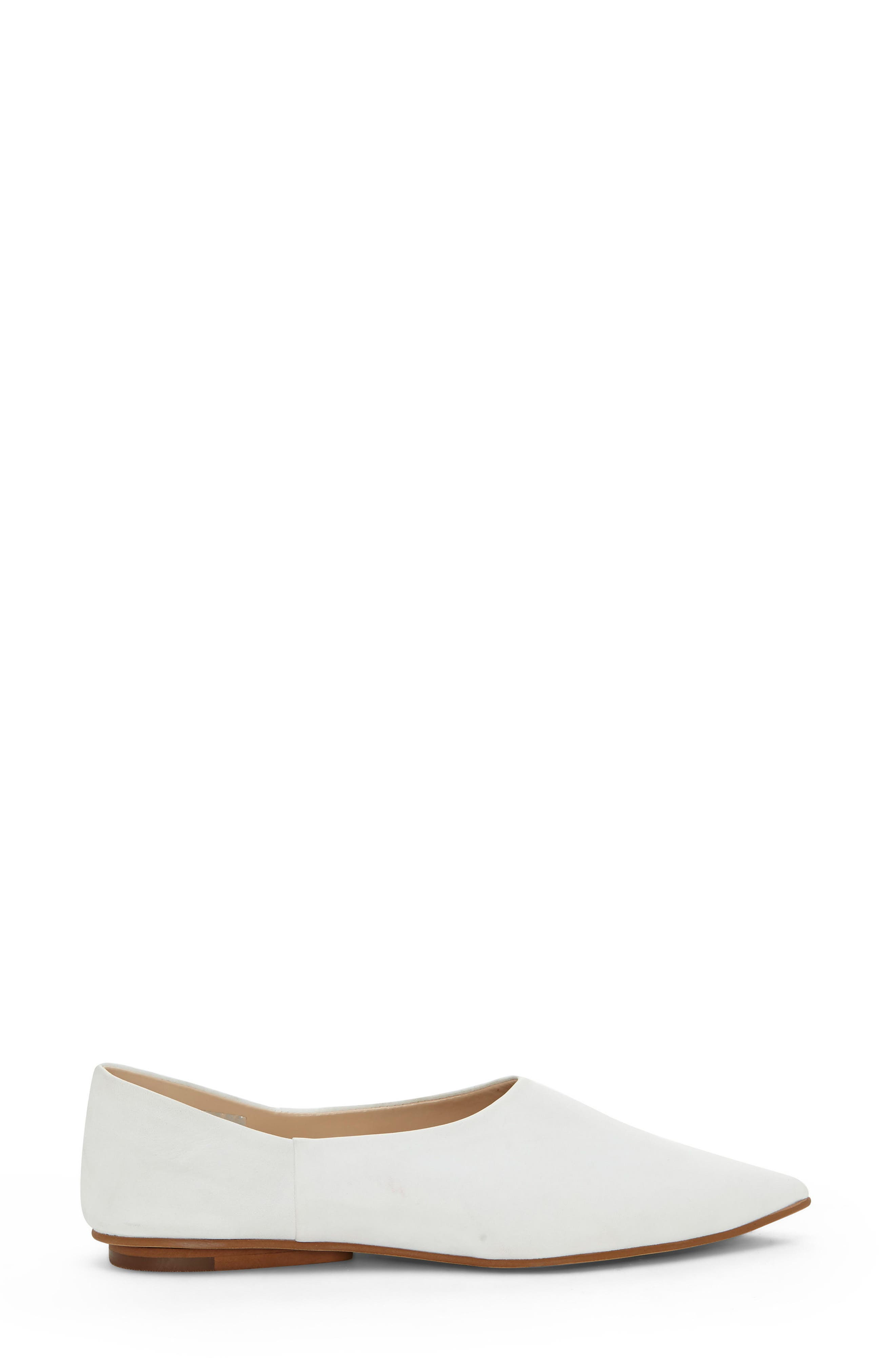 Stanta Pointy Toe Flat,                             Alternate thumbnail 3, color,                             Pure White Leather