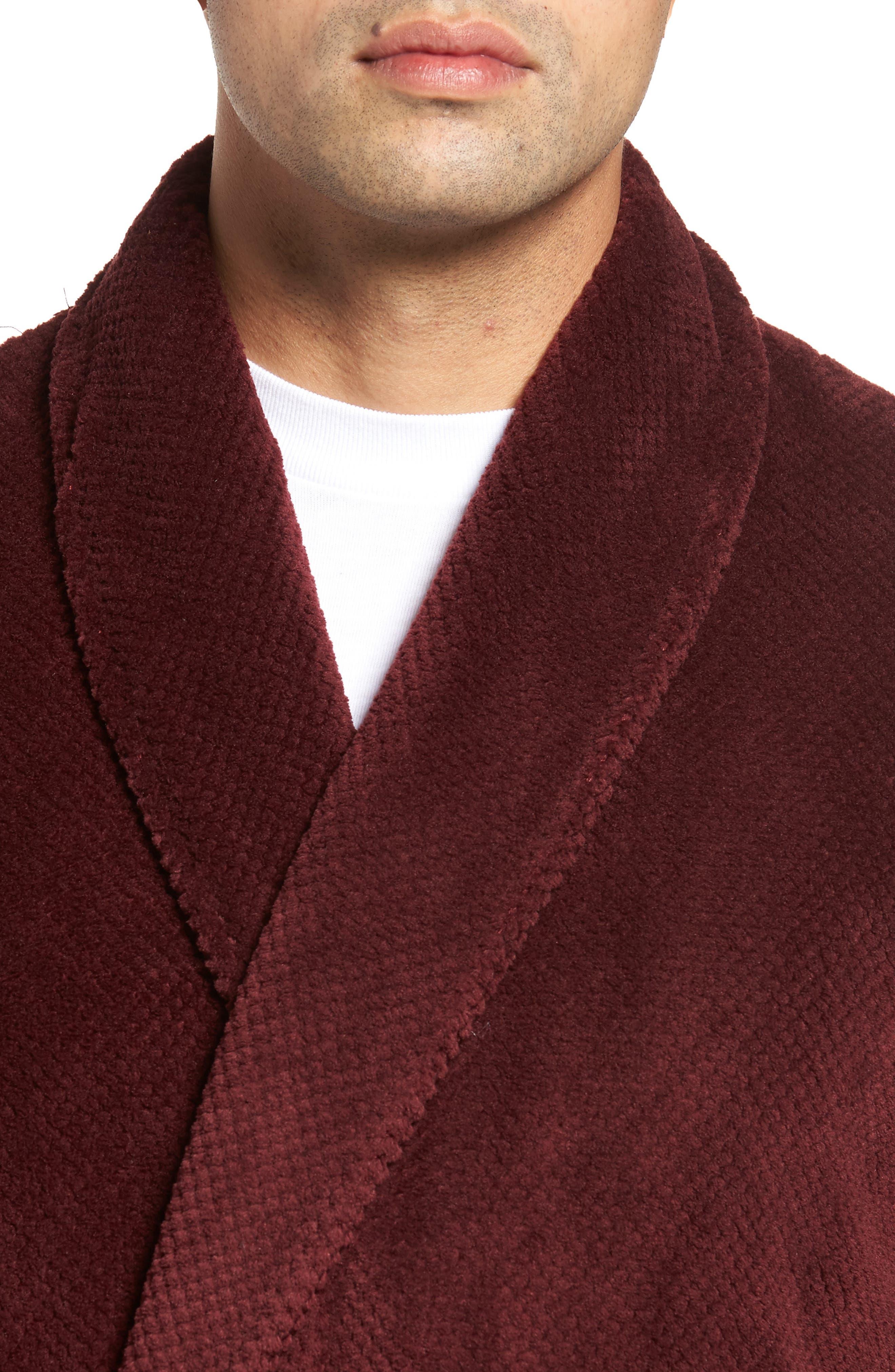 Fleece Robe,                             Alternate thumbnail 4, color,                             Burgundy