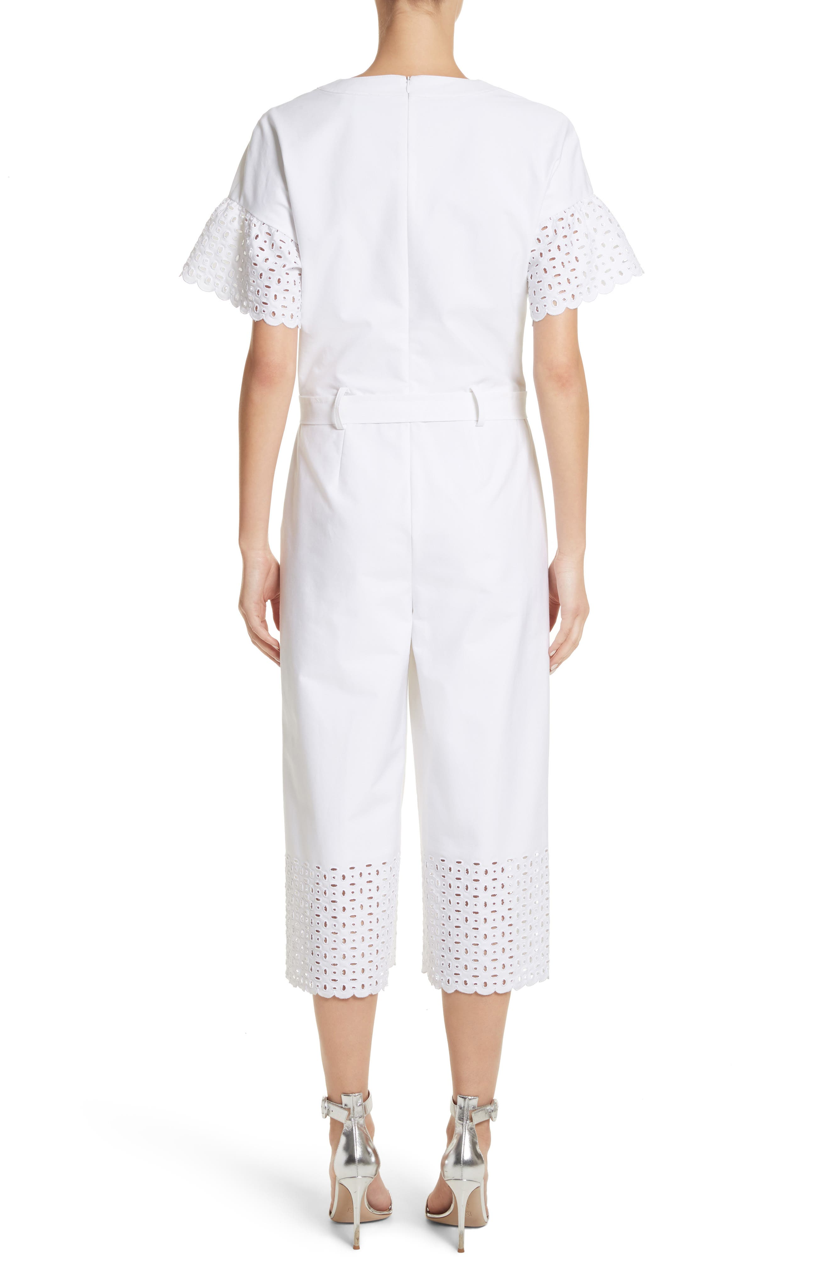Eyelet Trim Stretch Twill Jumpsuit,                             Alternate thumbnail 2, color,                             Bianco