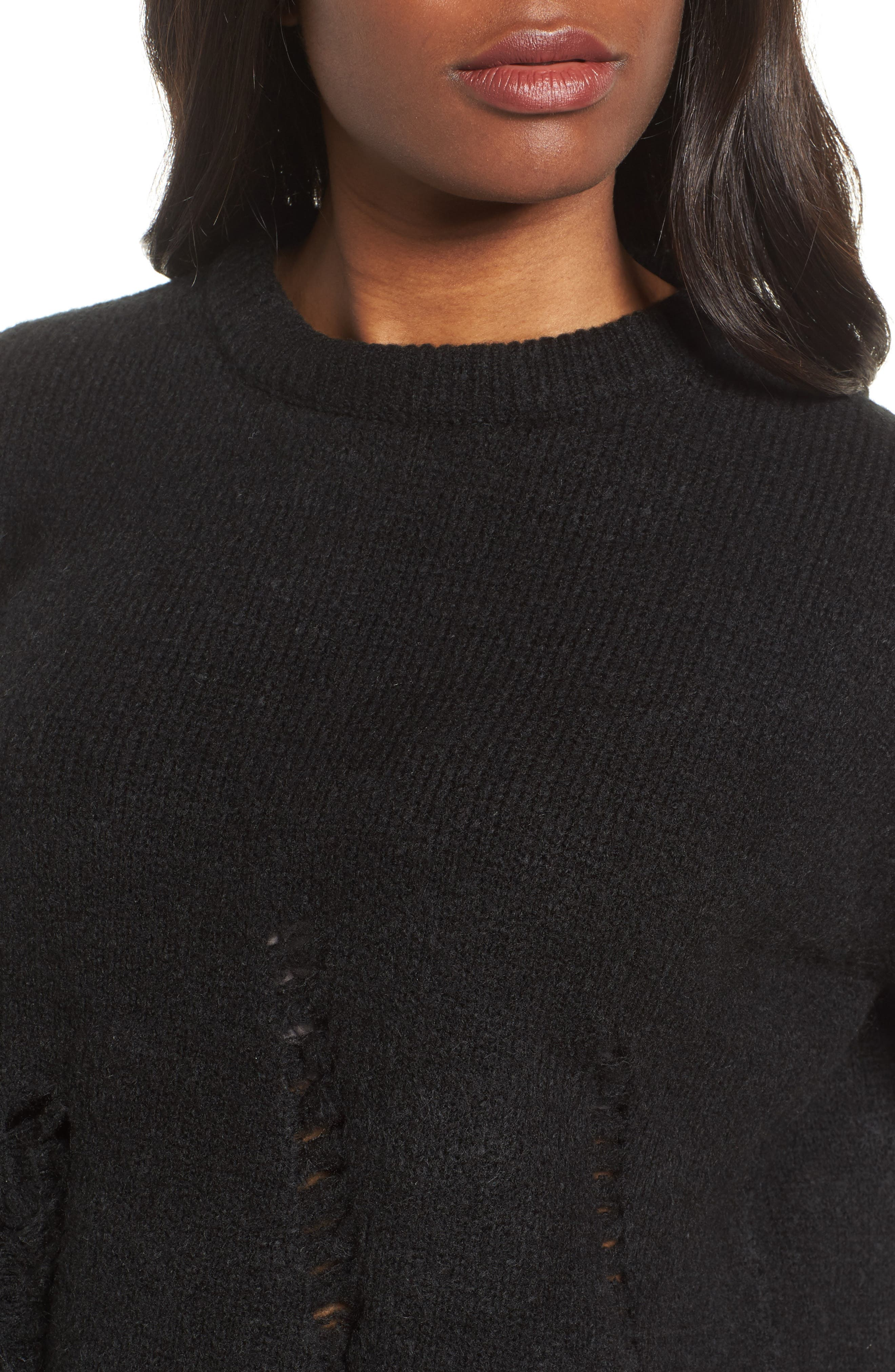 Destroyed High/Low Sweater,                             Alternate thumbnail 4, color,                             Black
