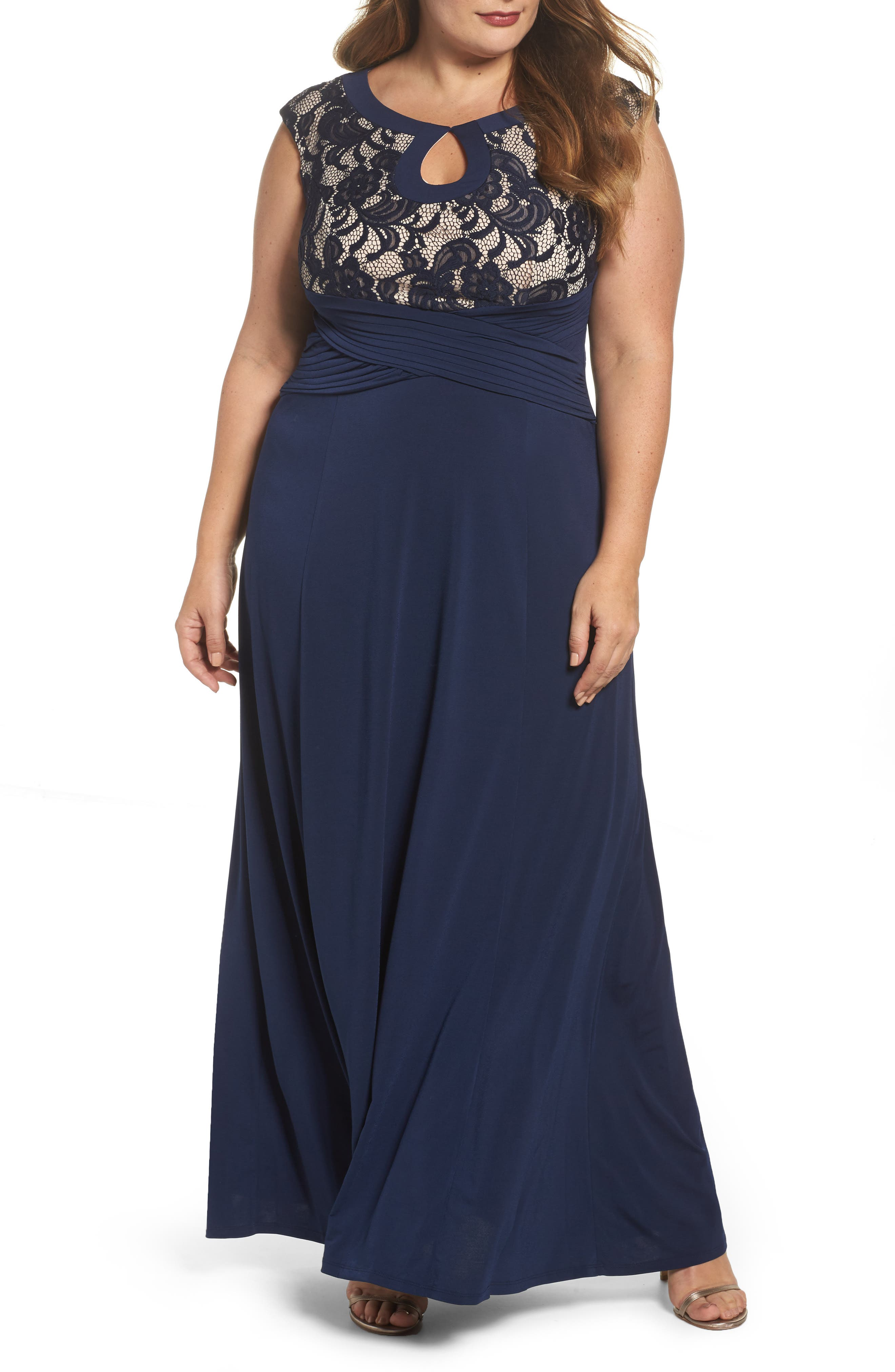 Lace & Jersey A-Line Gown,                         Main,                         color, Dusk/ Blush