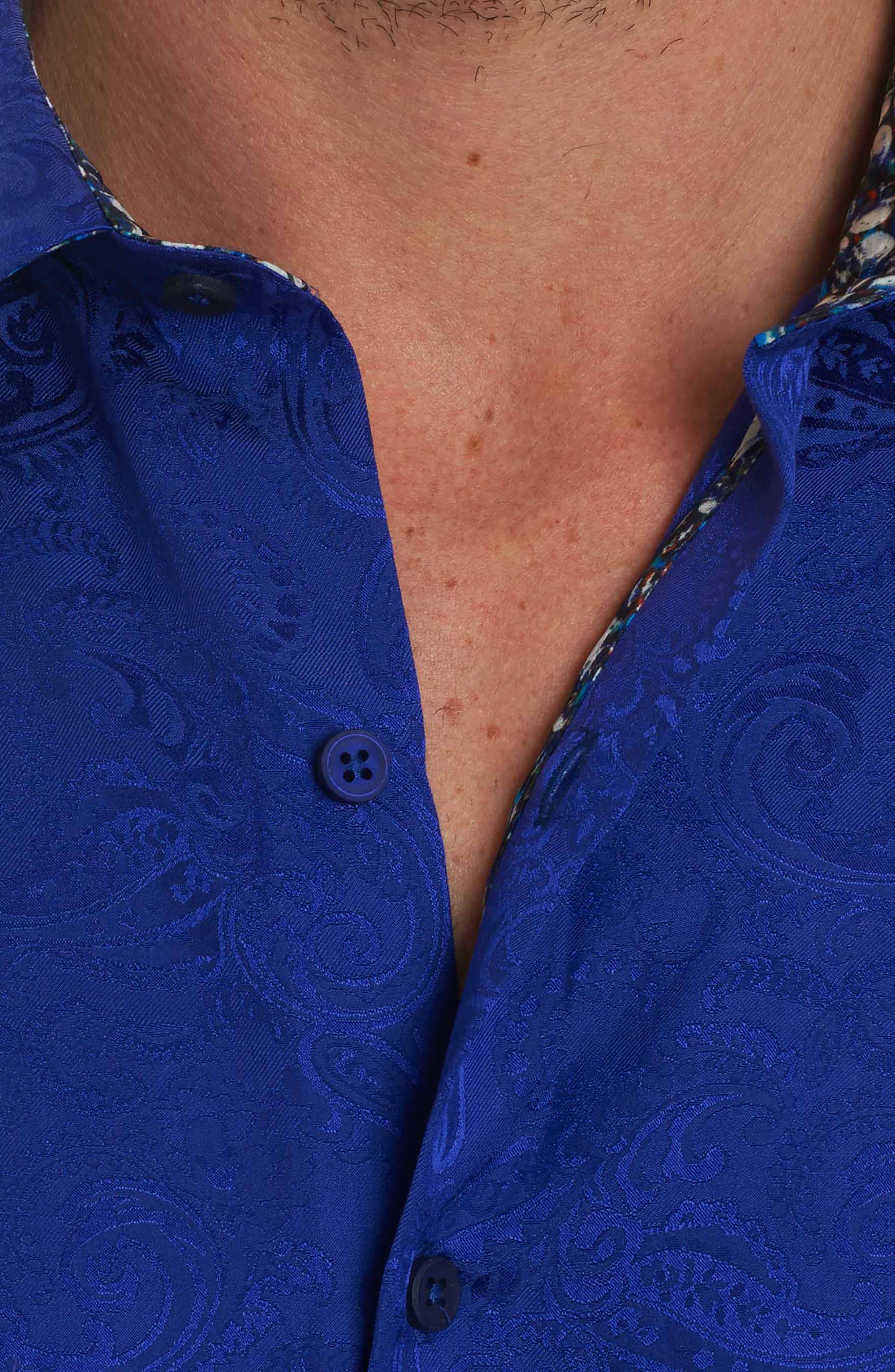 Tonal Paisley Classic Fit Sport Shirt,                             Alternate thumbnail 4, color,                             Purple