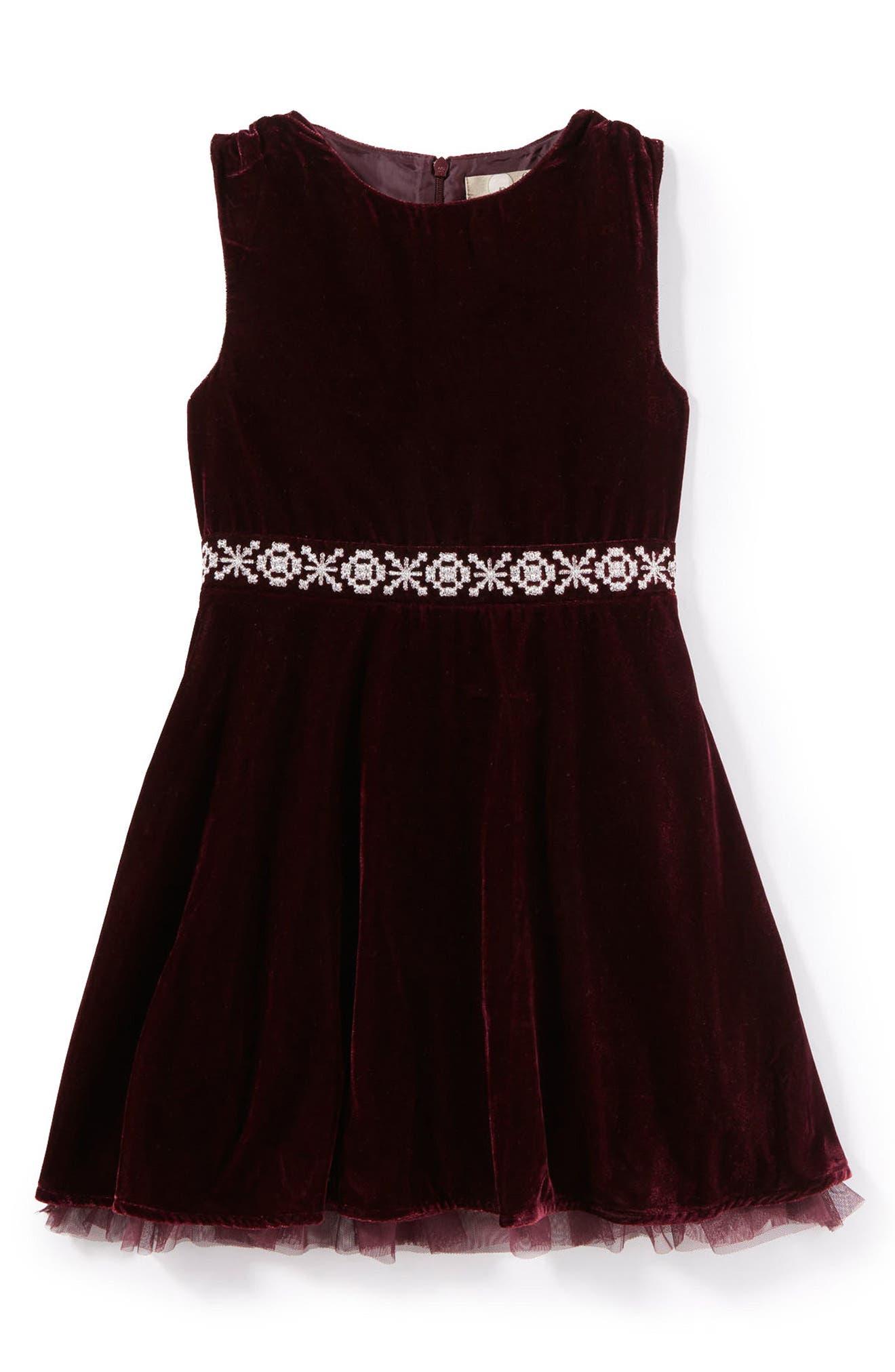 Vera Embroidered Snowflake Velvet Dress,                             Main thumbnail 1, color,                             Burgundy