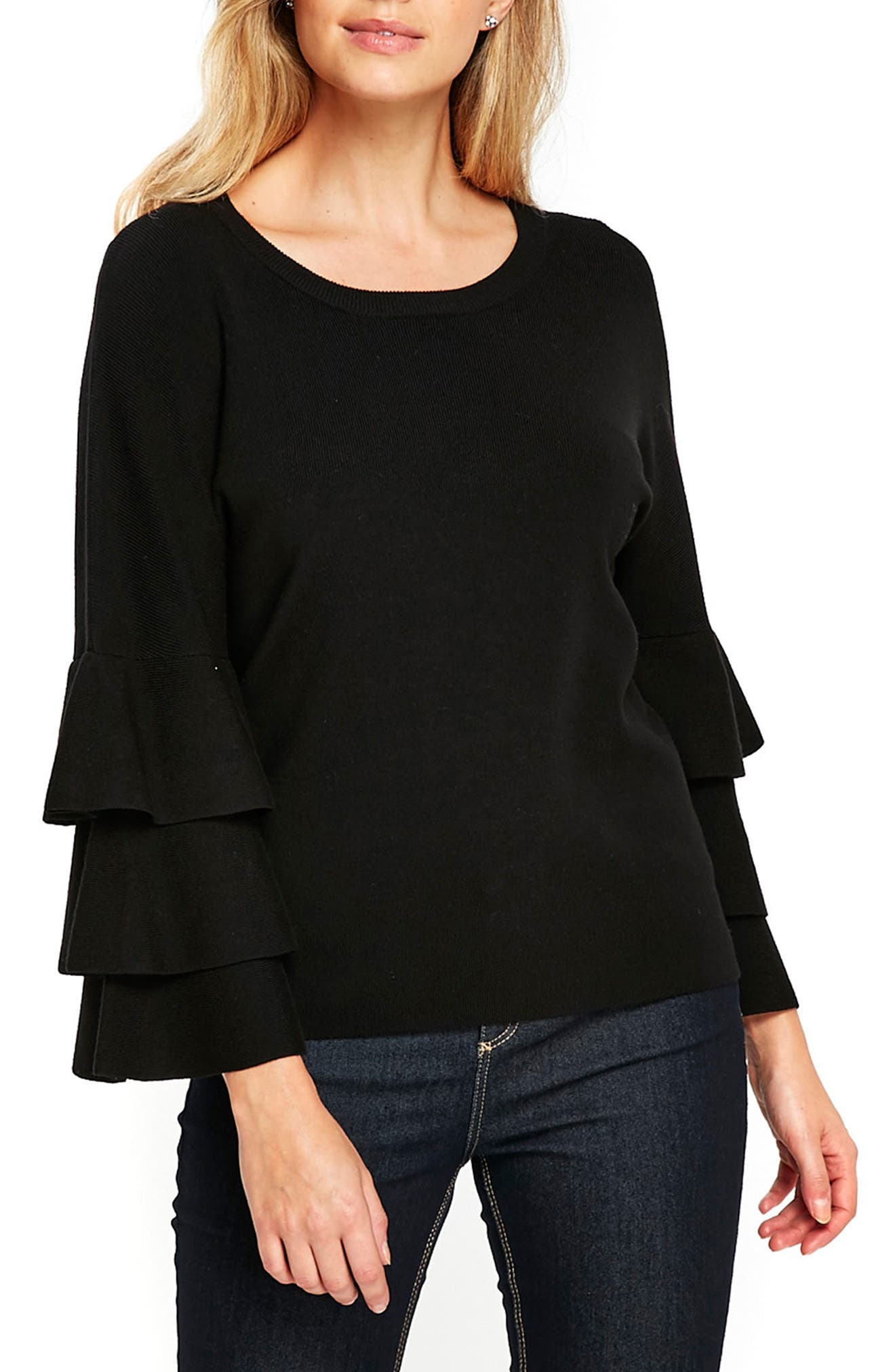 Tiered Ruffle Sleeve Top,                         Main,                         color, Black
