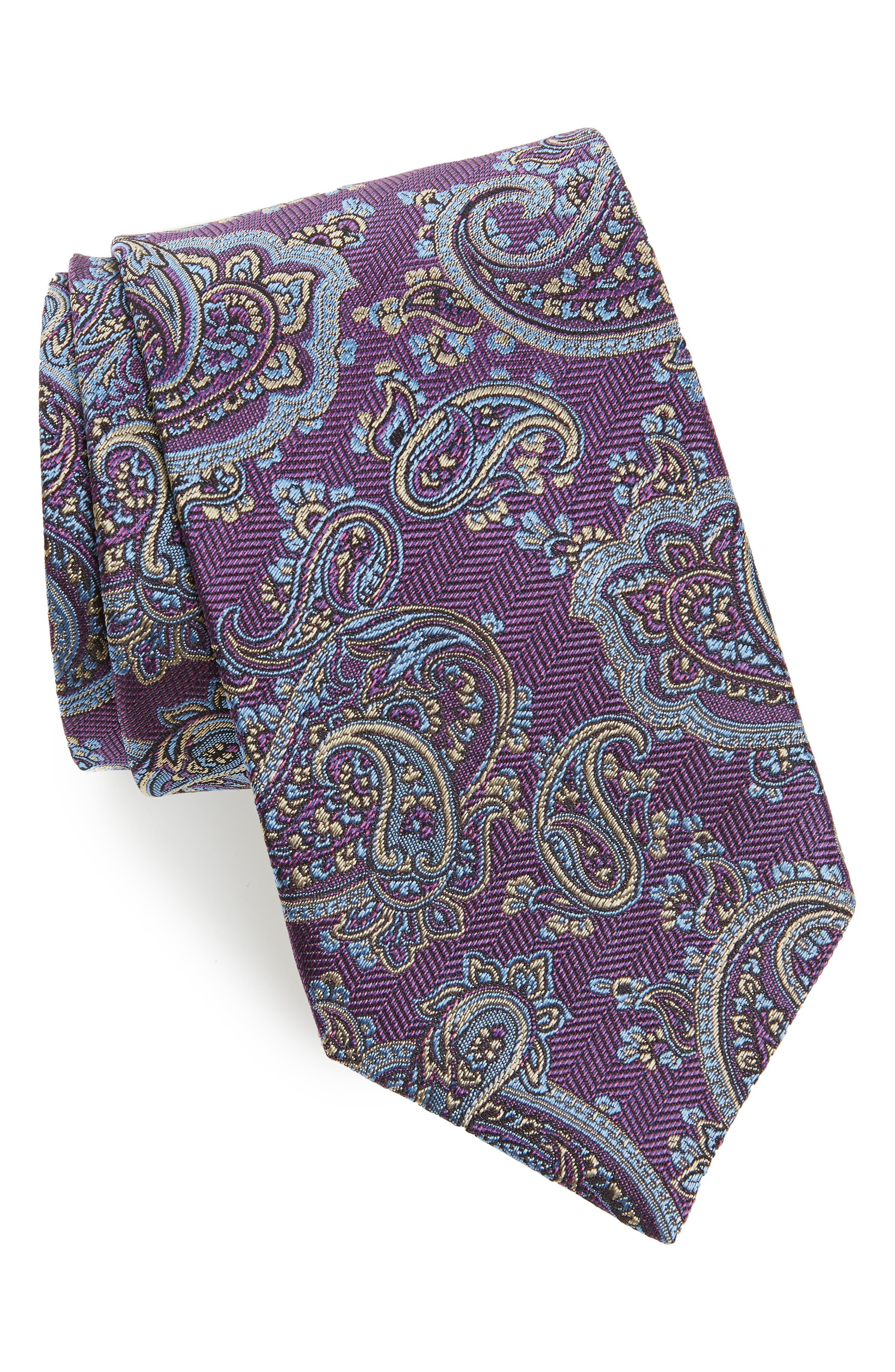 Paisley Silk Tie,                         Main,                         color, Berry