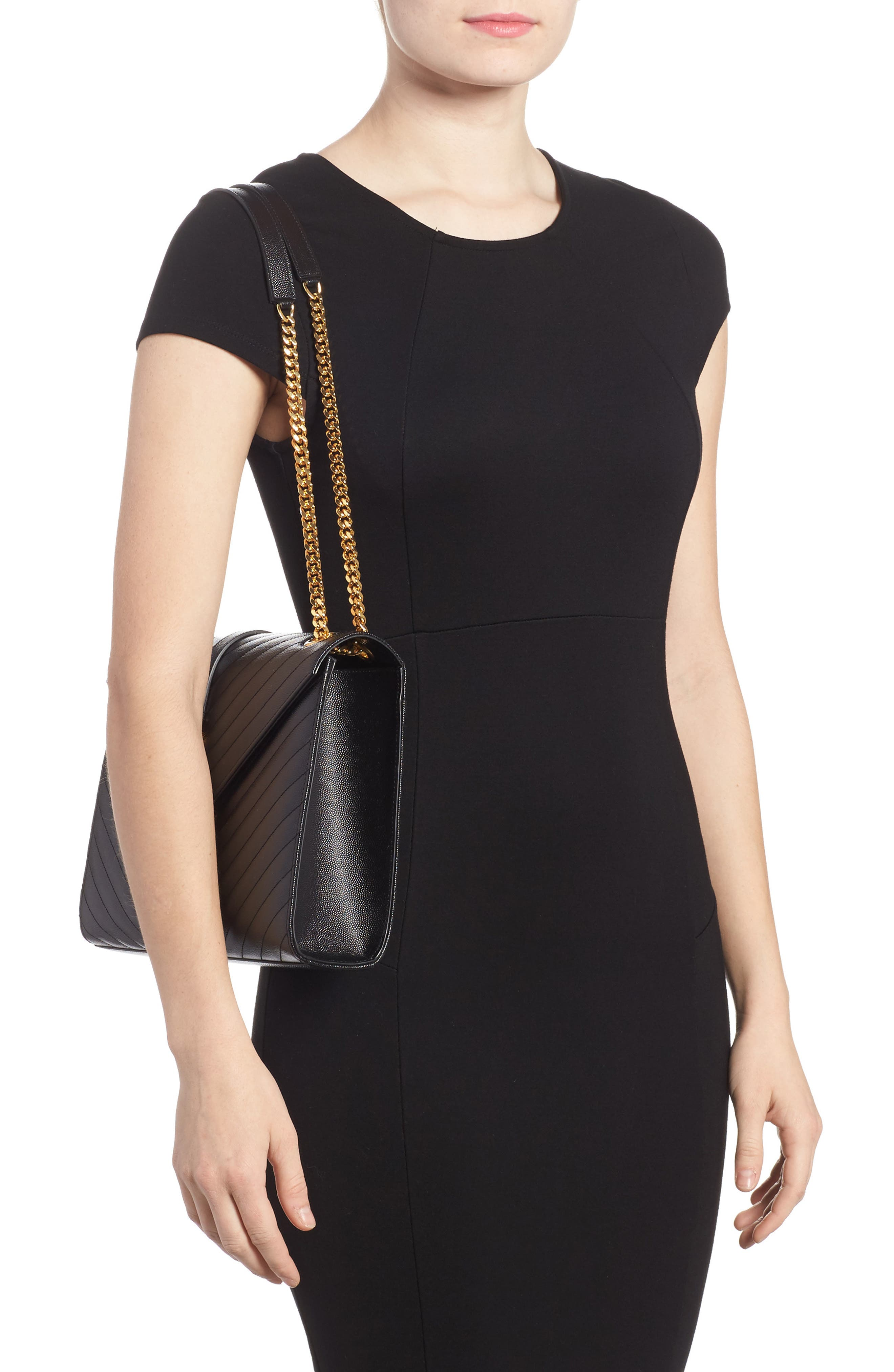 Medium Grained Matelassé Quilted Leather Shoulder Bag,                             Alternate thumbnail 2, color,                             Noir