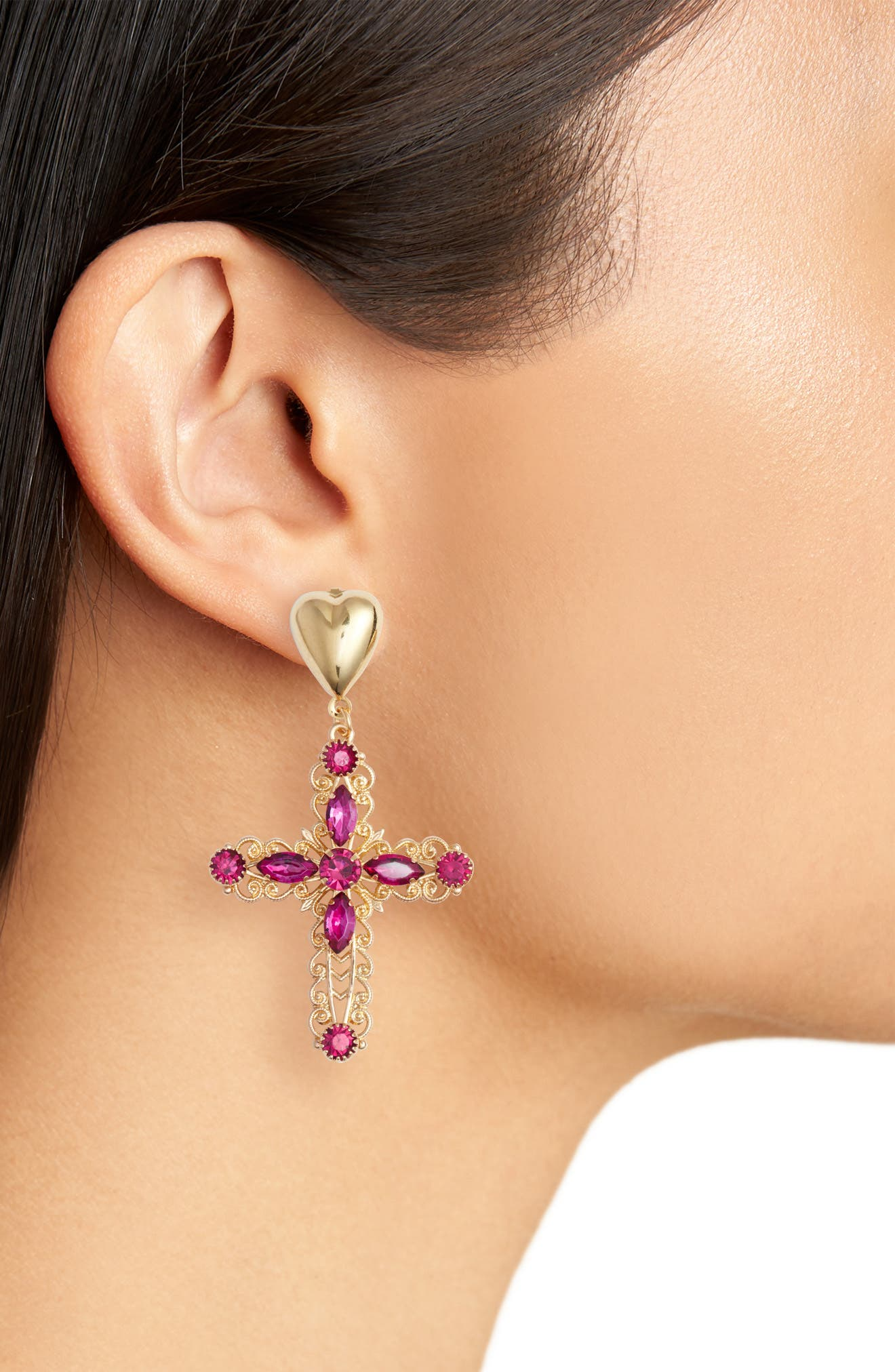 Crystal Cross Drop Earrings,                             Alternate thumbnail 2, color,                             Gold/ Purple