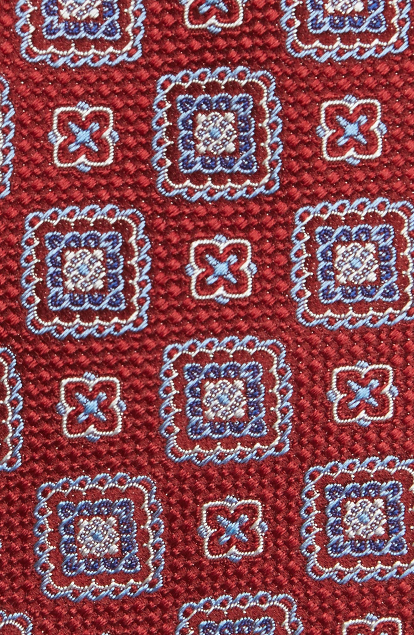 Medallion Silk Tie,                             Alternate thumbnail 2, color,                             Merlot