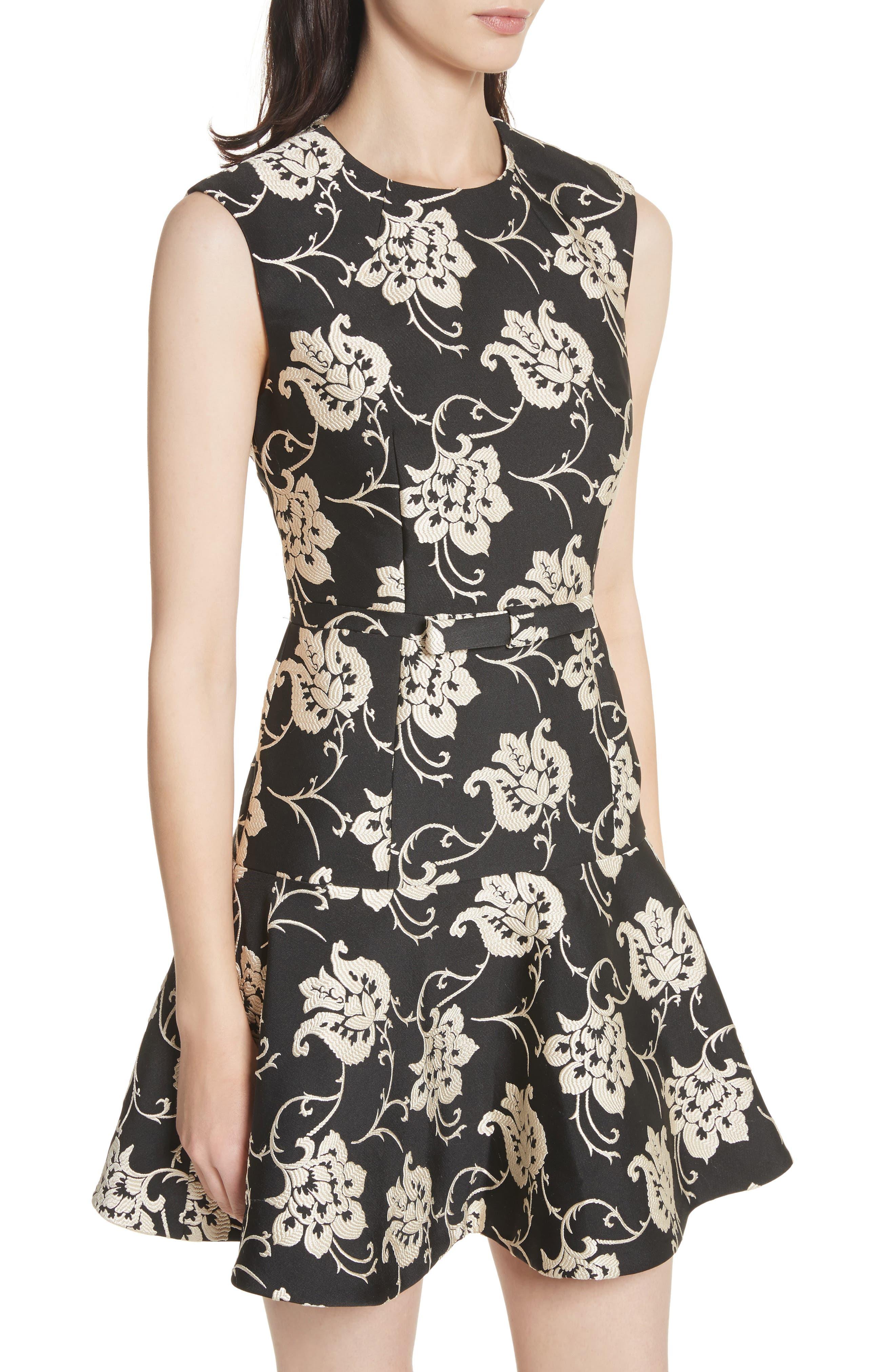 Ornate Paisley Ruffle Hem Dress,                             Alternate thumbnail 4, color,                             Black