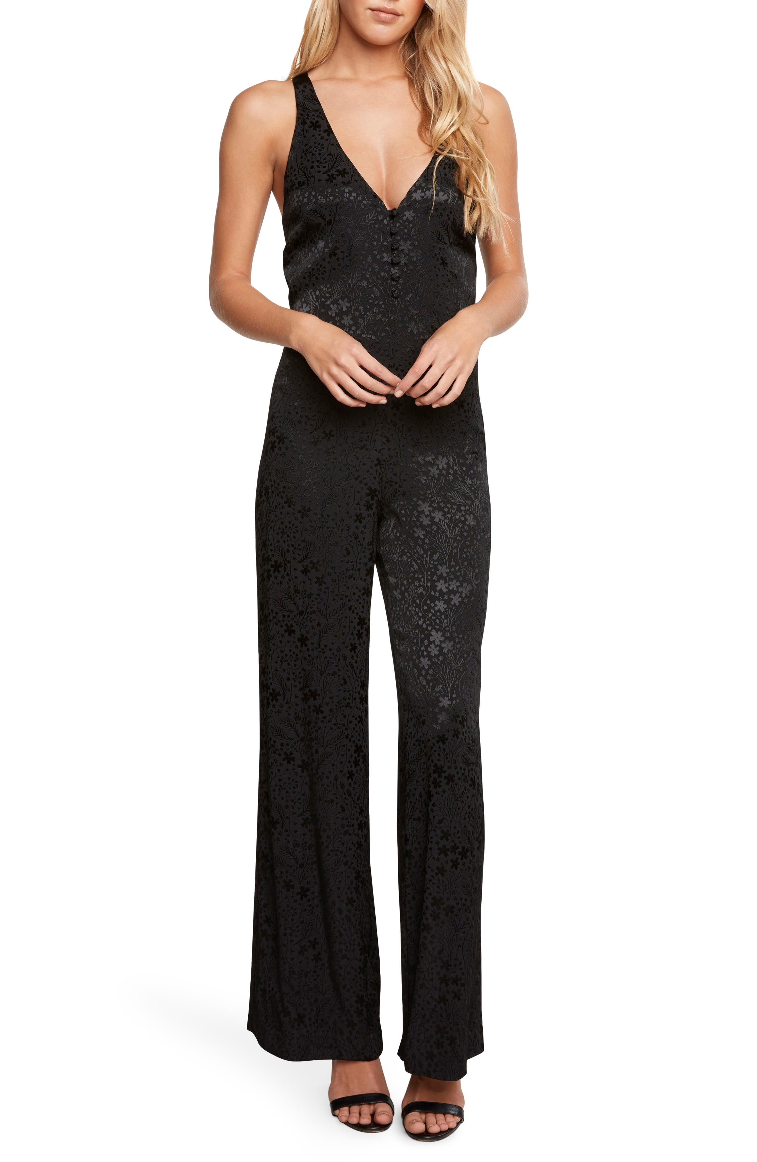 Jacquard Jumpsuit,                             Main thumbnail 1, color,                             Black