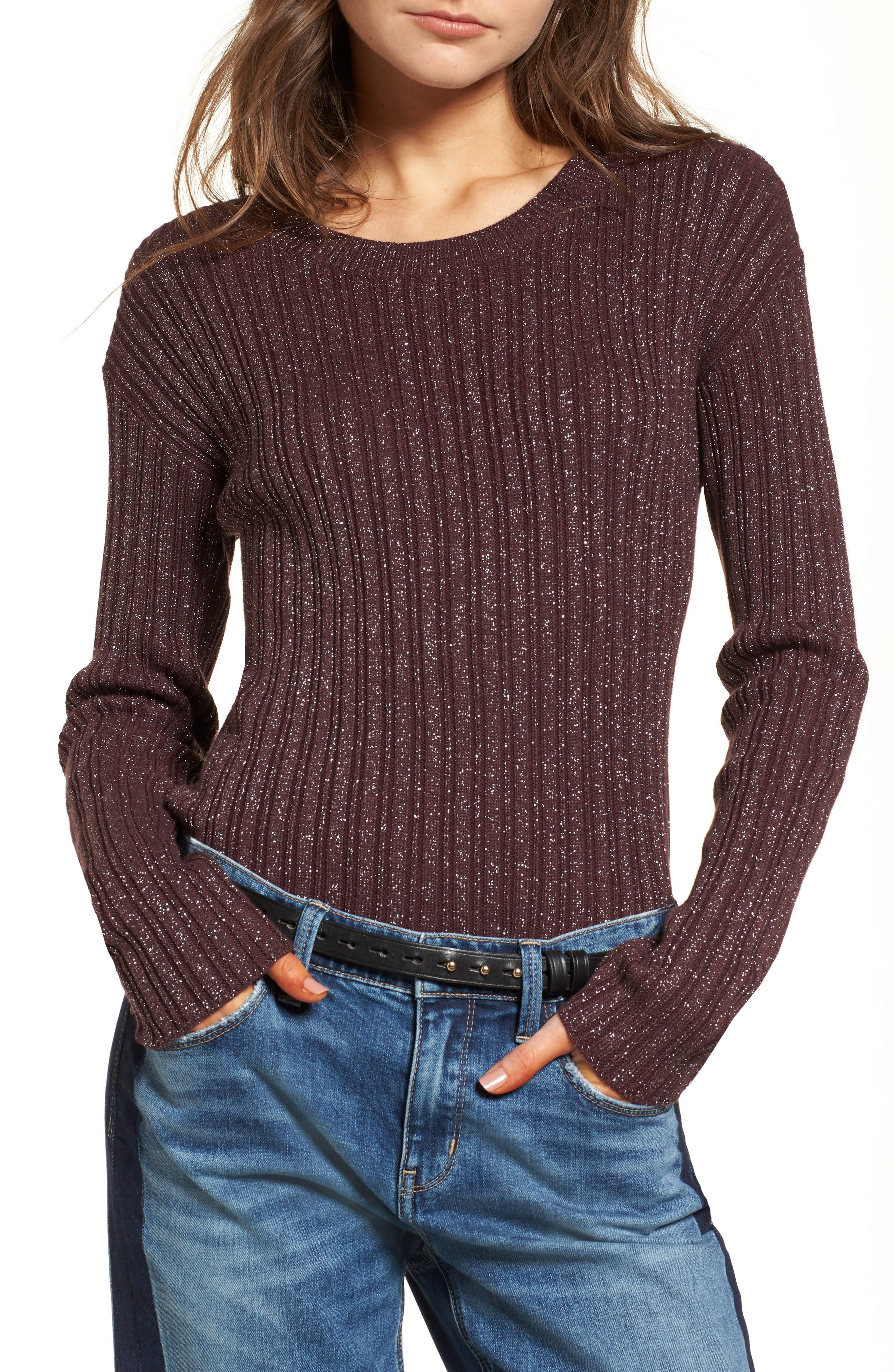 Metallic Ribbed Sweater,                         Main,                         color, Burgundy Silver Combo