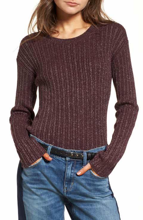 Treasure & Bond Metallic Ribbed Sweater