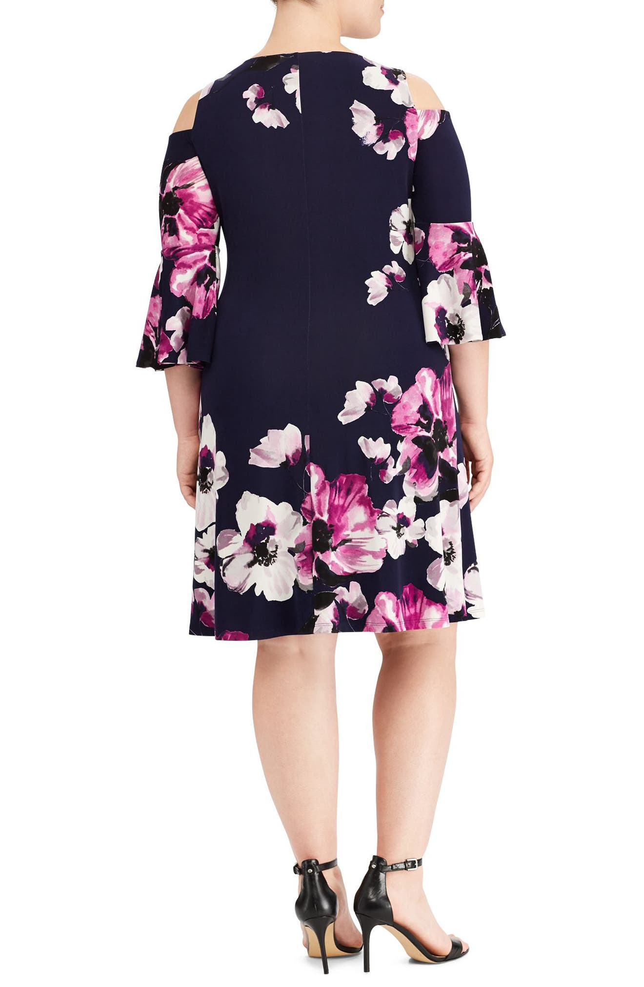 Alternate Image 2  - Lauren Ralph Lauren Print Cold Shoulder Shift Dress (Plus Size)