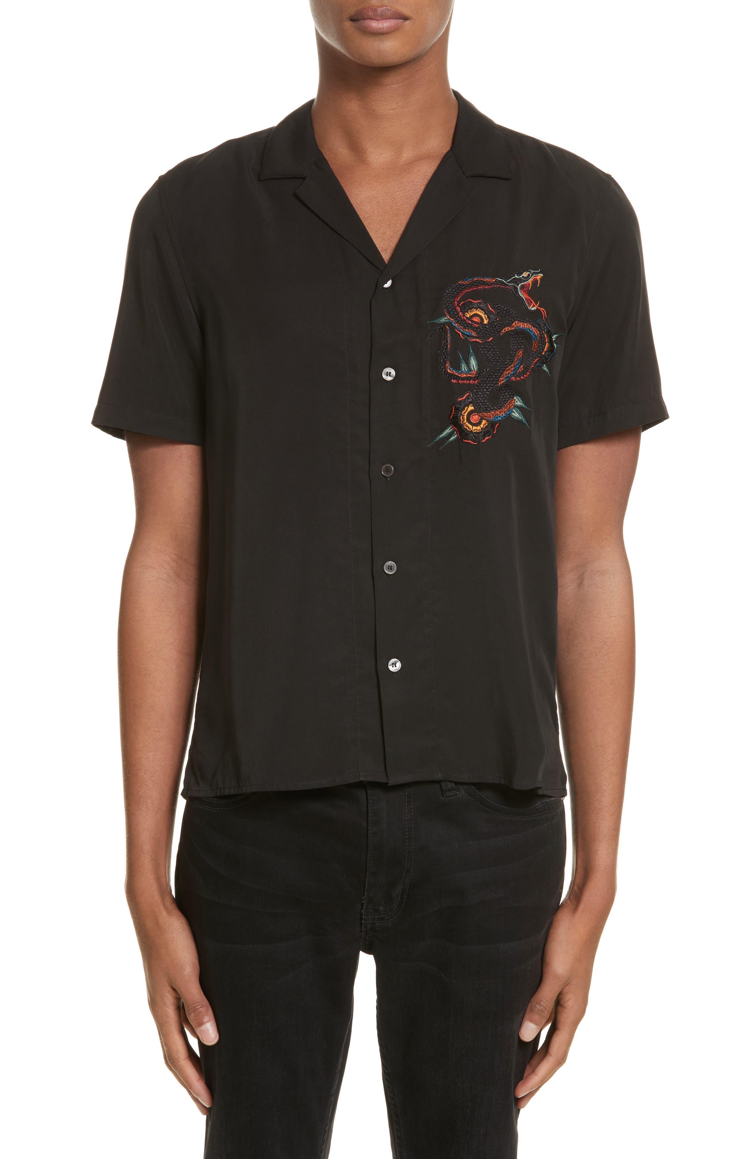 Embroidered Snake Camp Shirt,                             Main thumbnail 1, color,                             Black