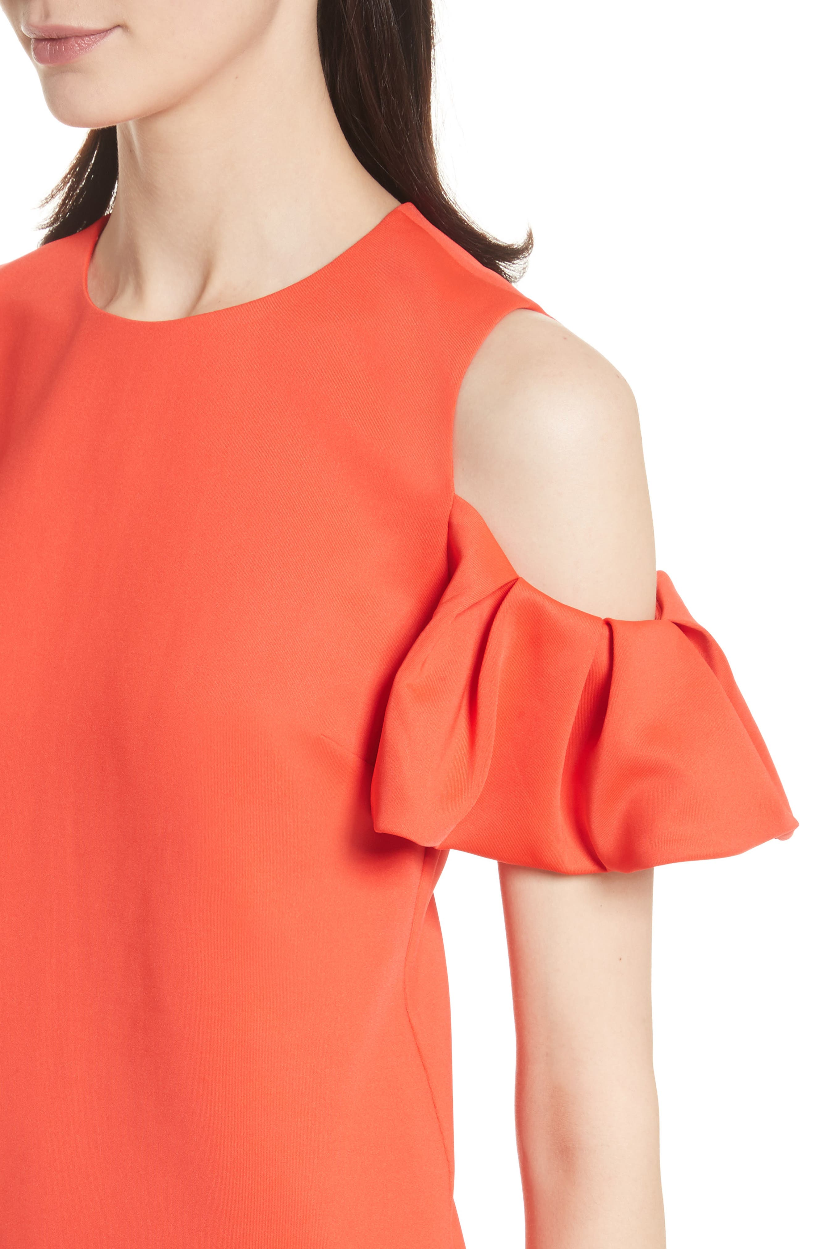 Cold Shoulder Pleated Sleeve Top,                             Alternate thumbnail 4, color,                             Bright Red