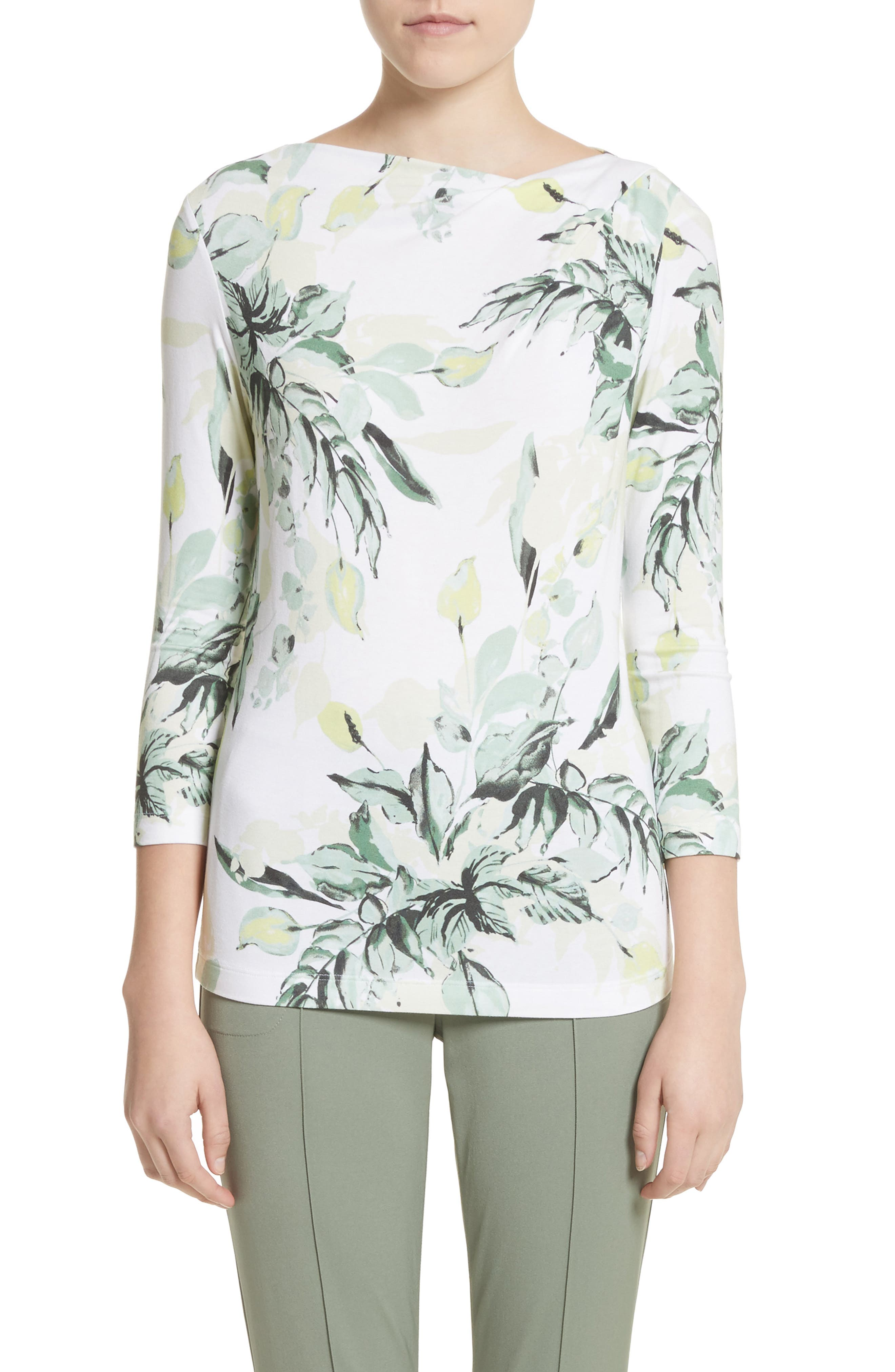 Painted Leaves Print Jersey Top,                         Main,                         color, Bianco Multi