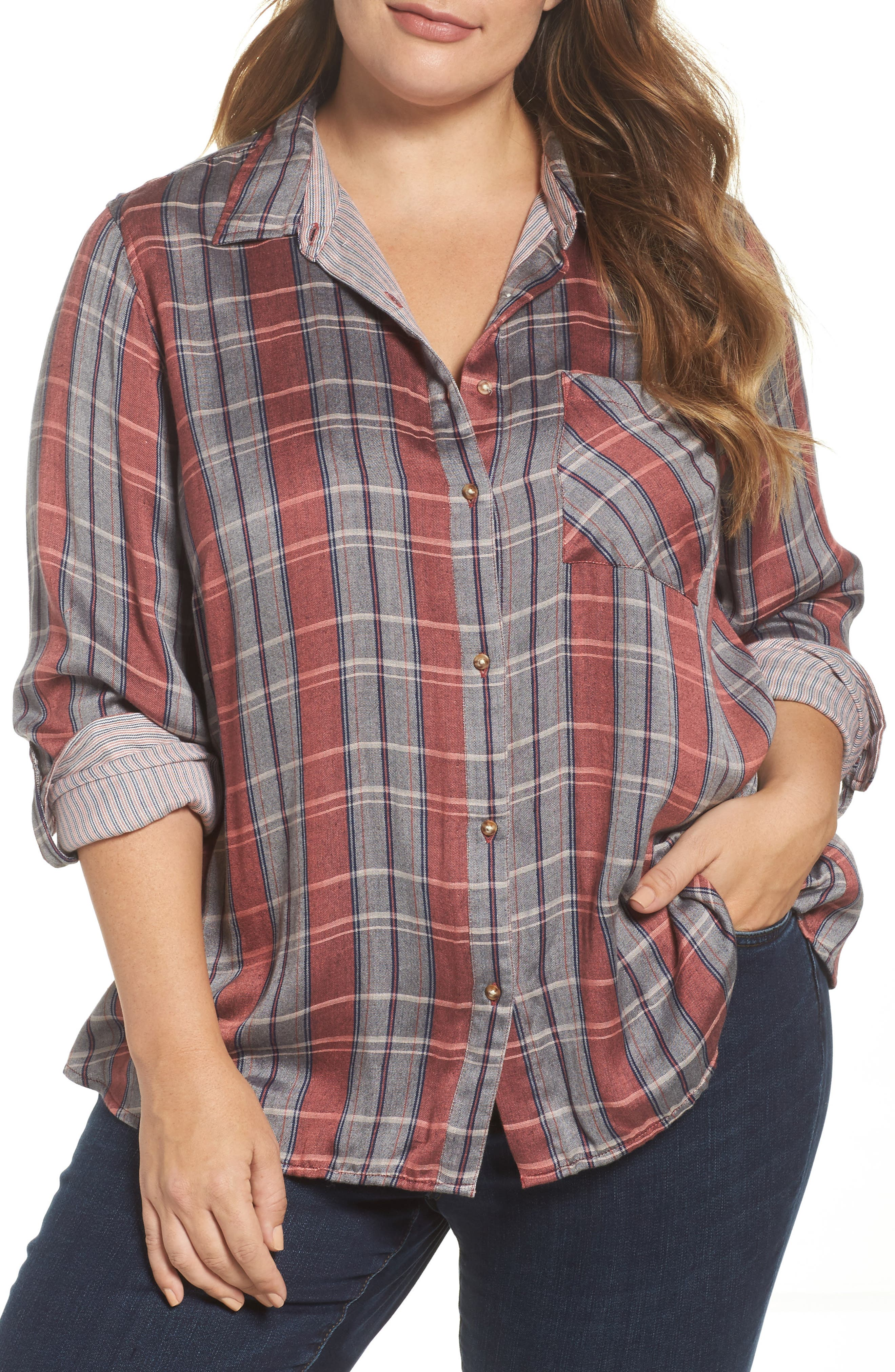 Alternate Image 1 Selected - Lucky Brand Plaid Pocket Shirt (Plus Size)