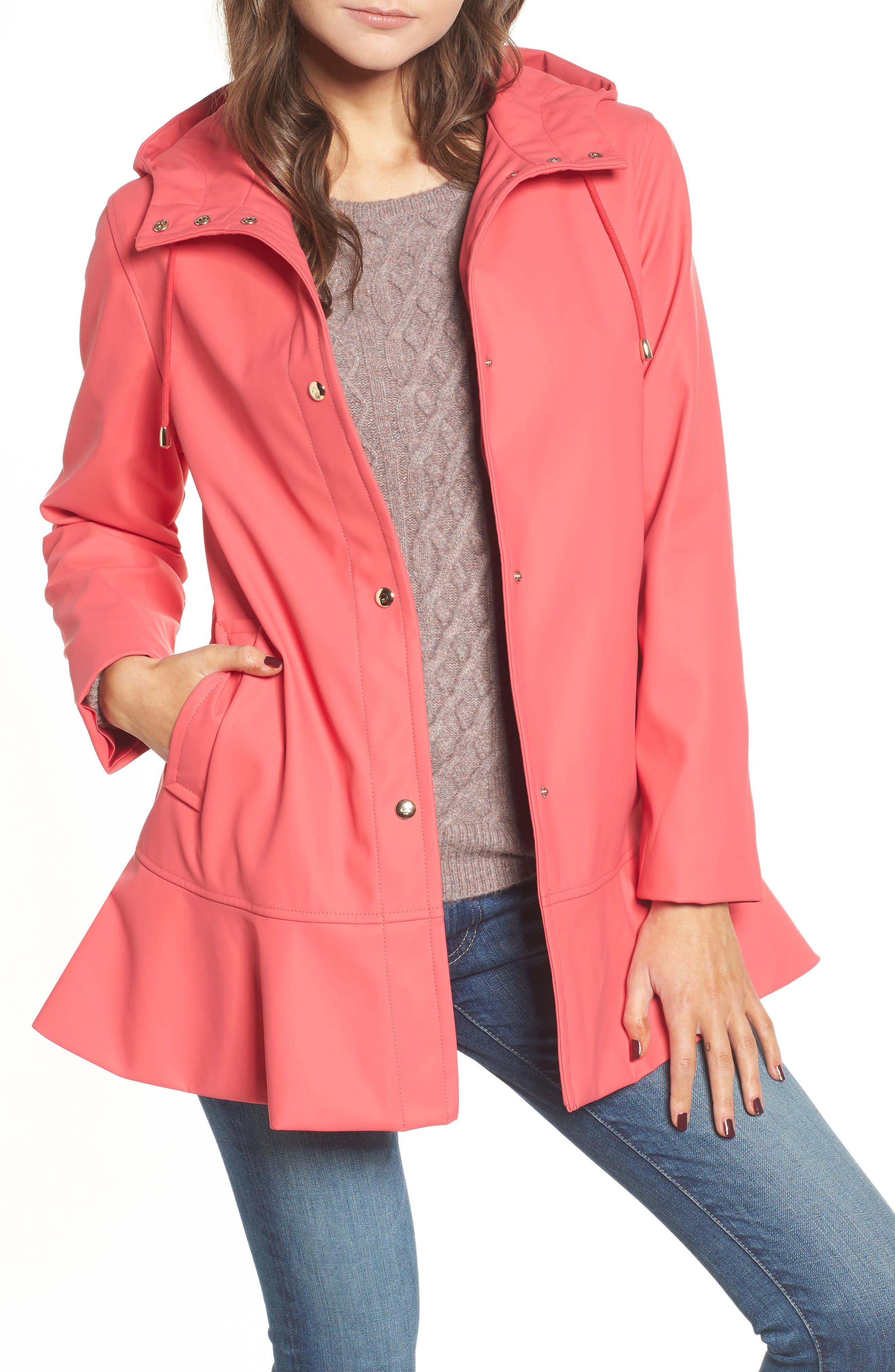 hooded peplum rain coat,                         Main,                         color, Aladdin Pink
