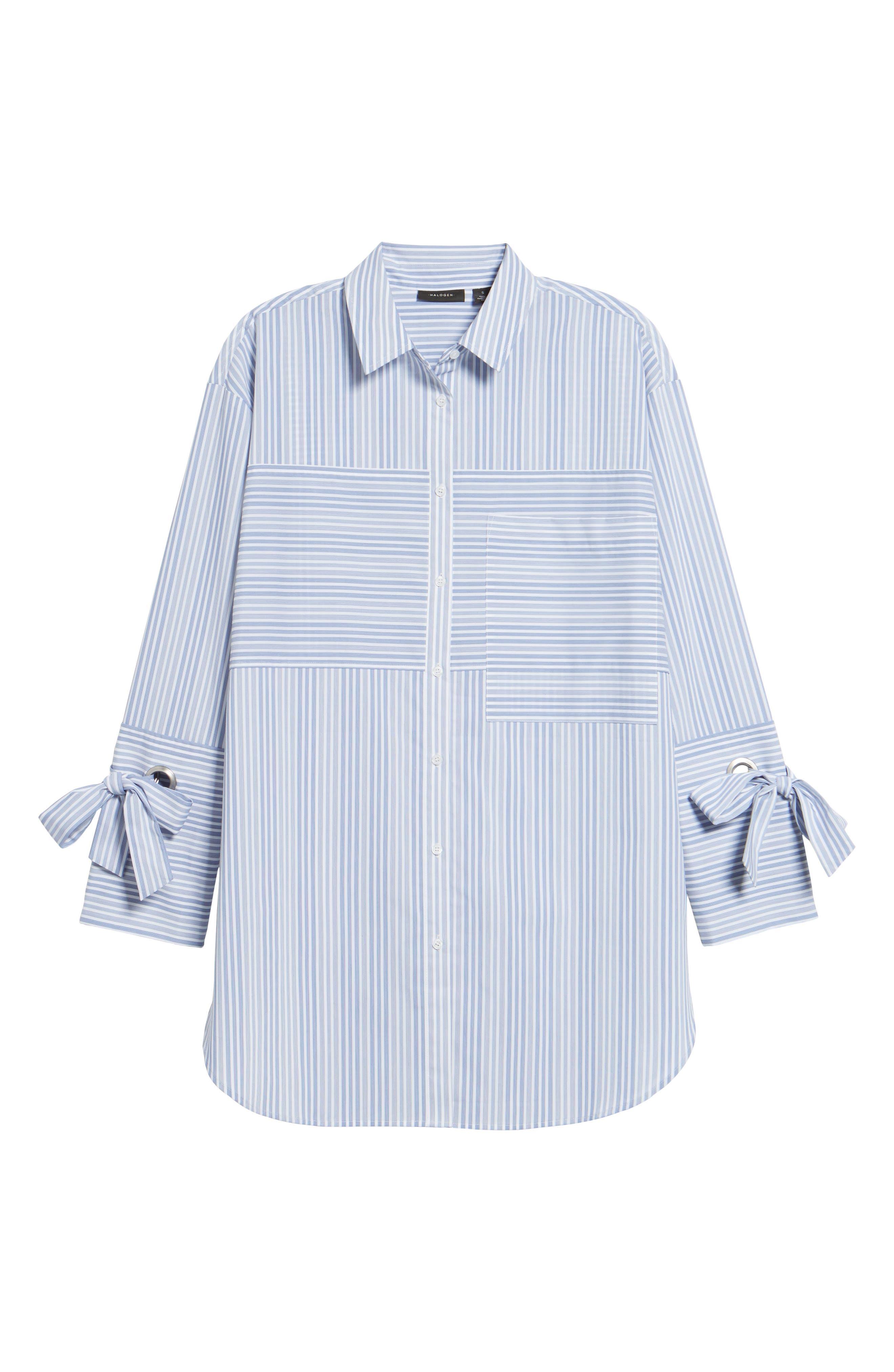 Pocket Detail Stripe Tunic Top,                             Alternate thumbnail 6, color,                             Blue- White Stripe