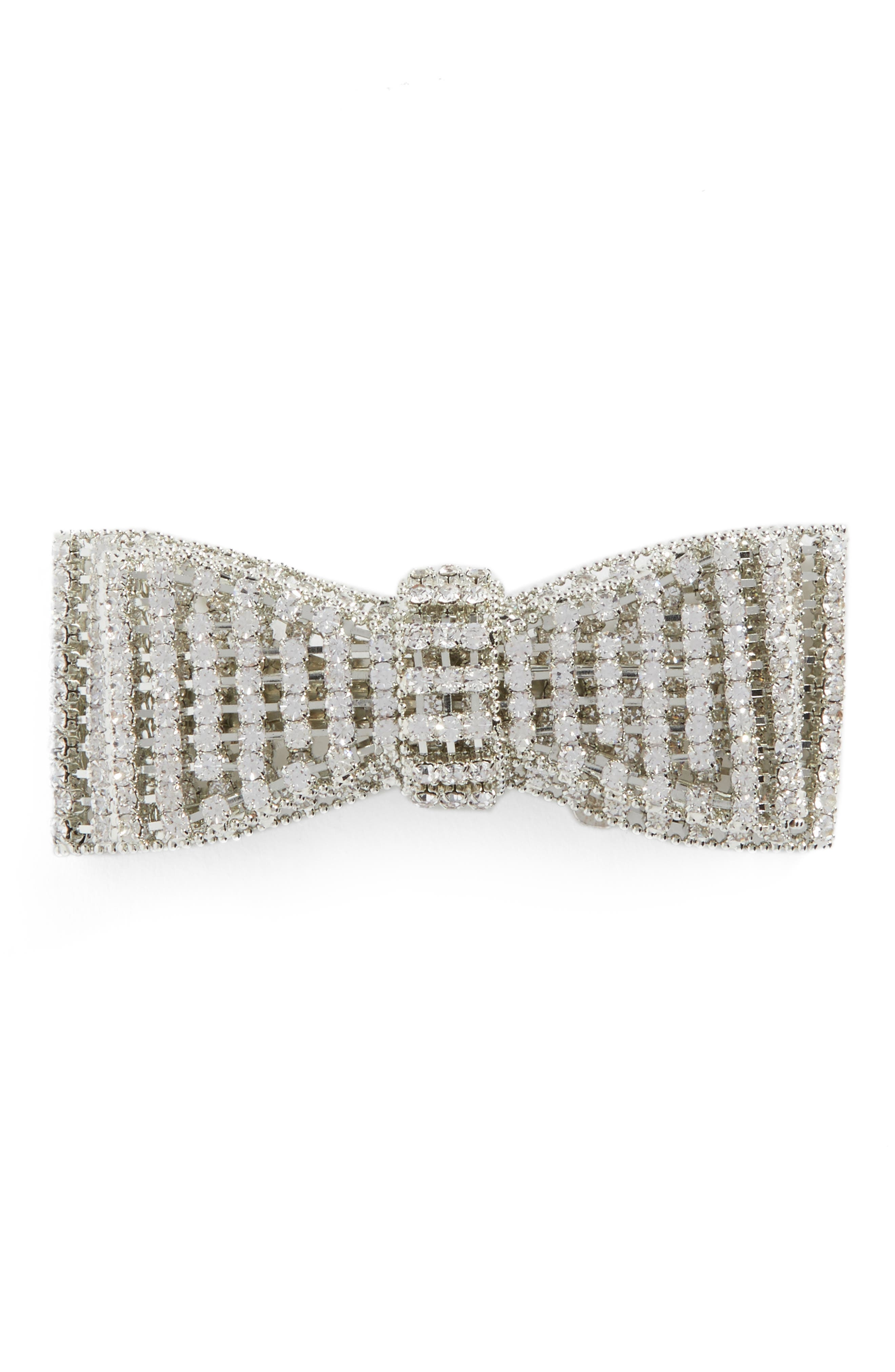 Crystal Bow Barrette,                         Main,                         color, Silver
