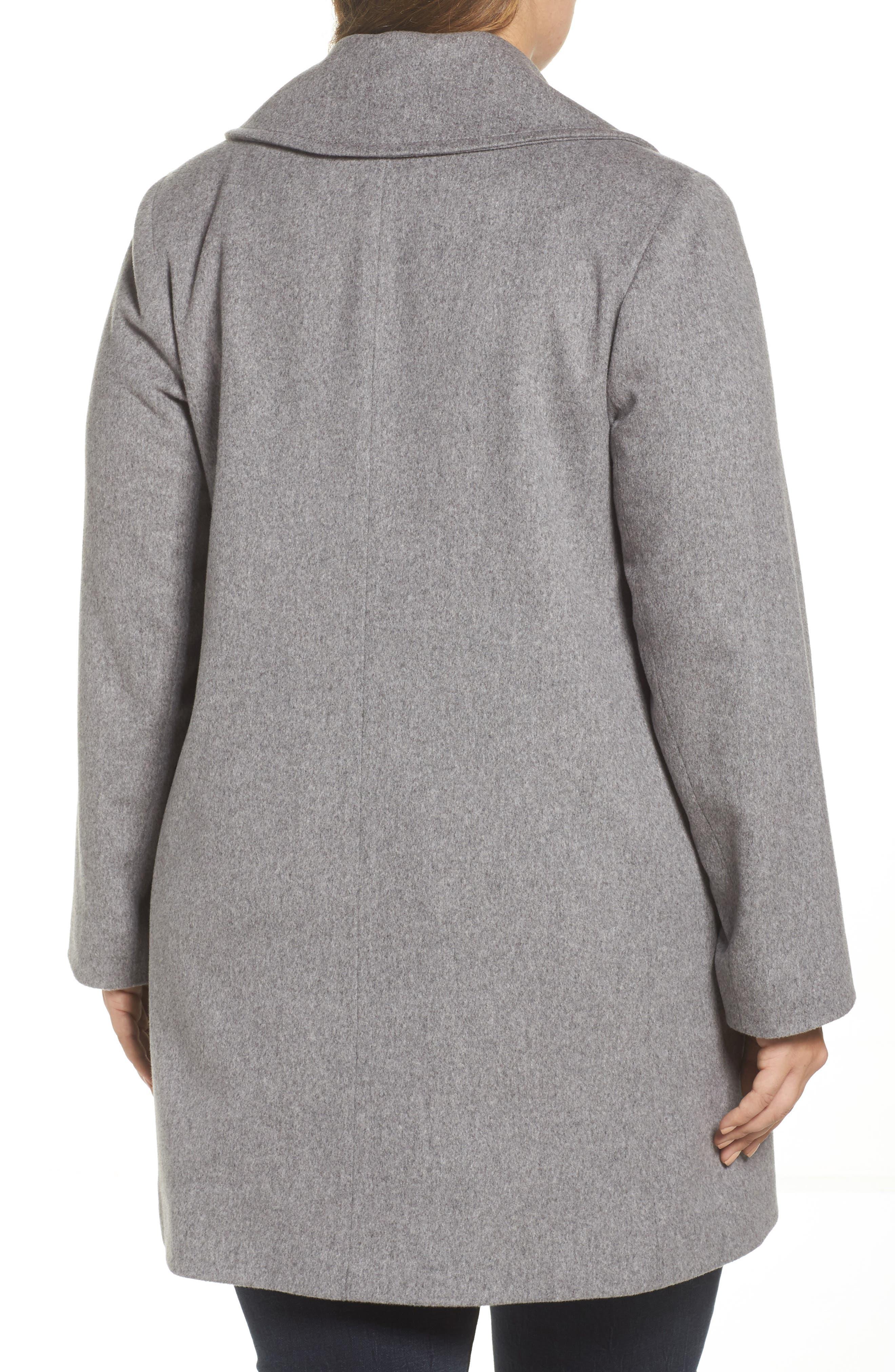 Alternate Image 2  - Fleurette Wool Walking Coat (Plus Size)