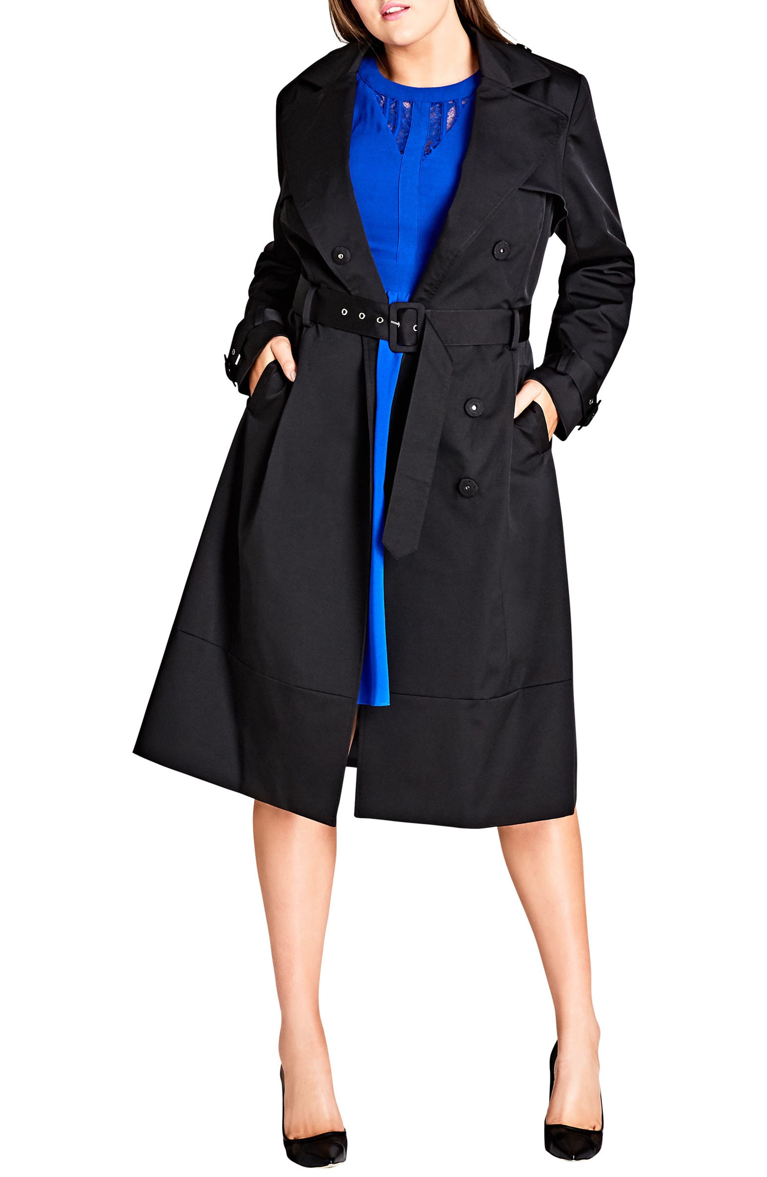 Classic Trench Coat,                             Alternate thumbnail 3, color,                             Black