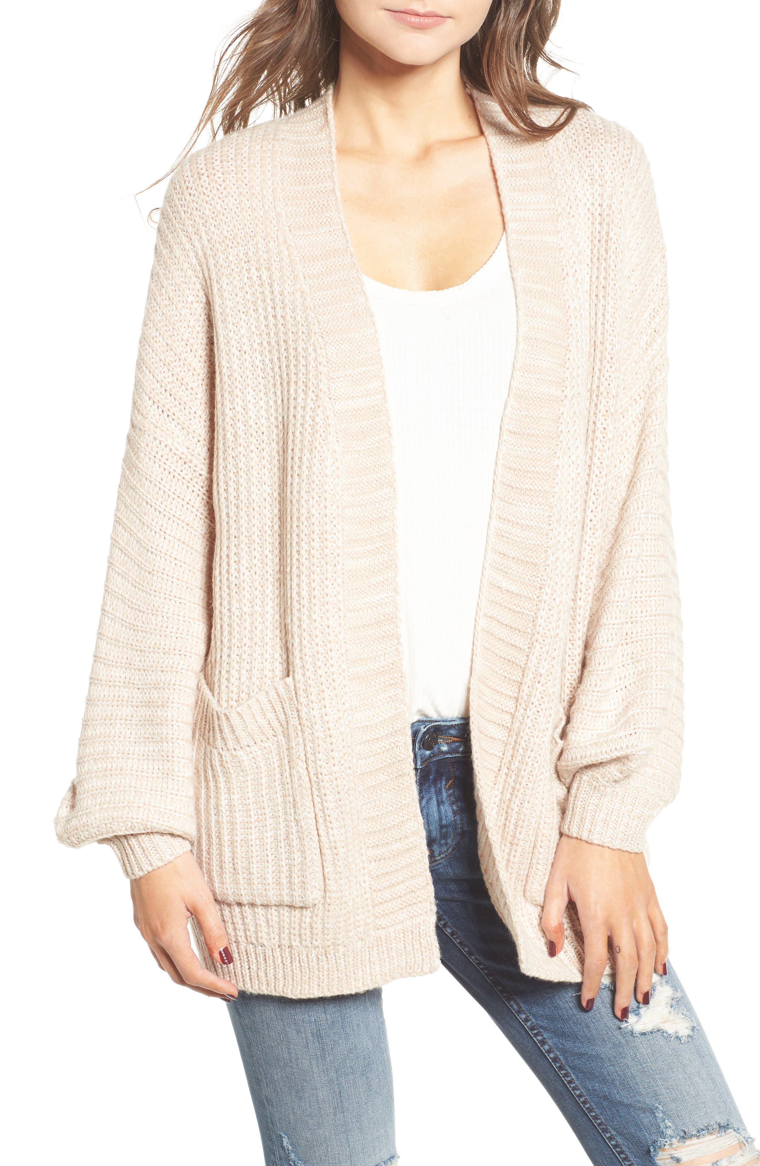 Drapey Sleeve Cardigan,                         Main,                         color, Beige