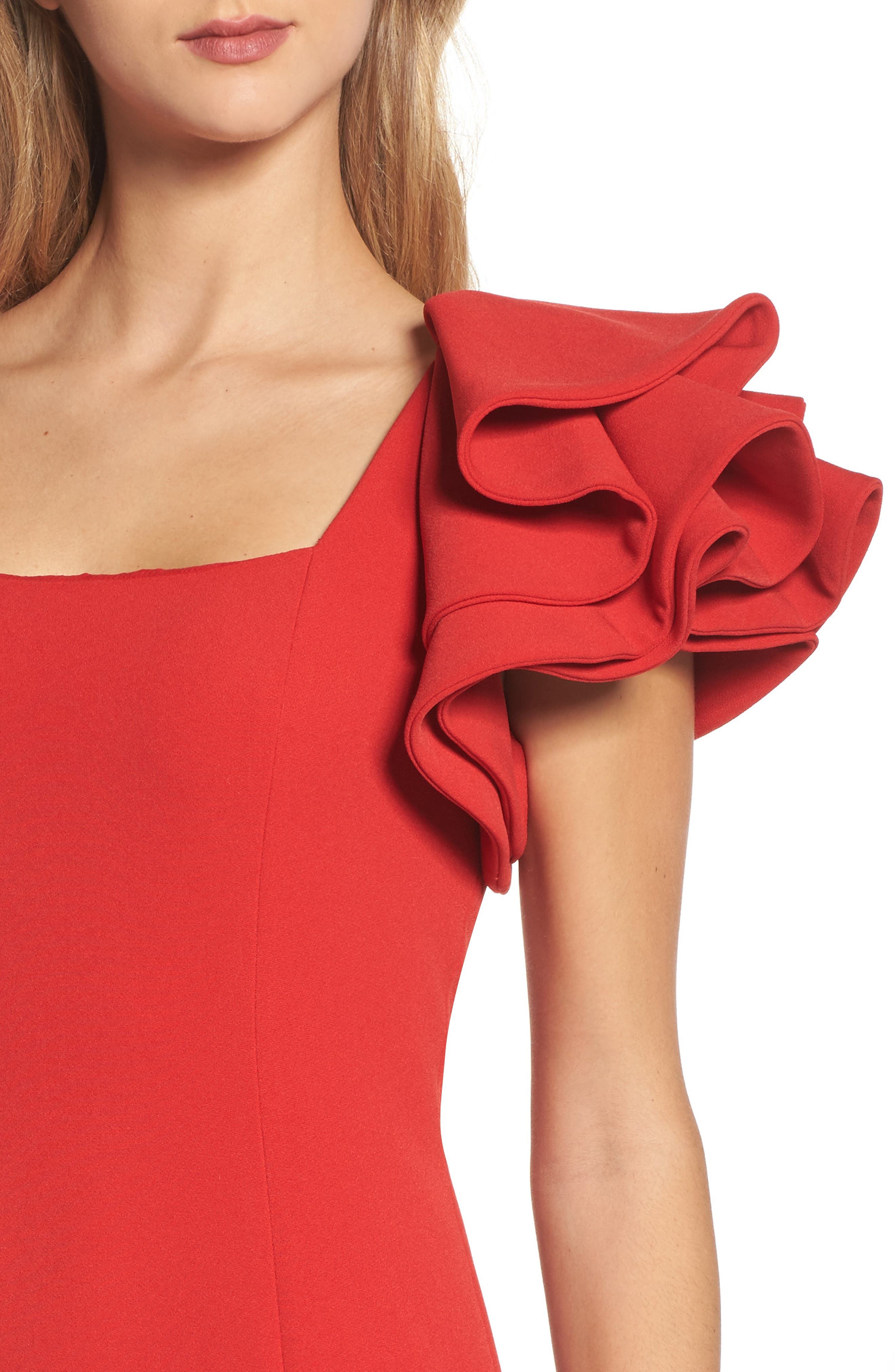 Ruffle Sleeve Sheath Dress,                             Alternate thumbnail 4, color,                             Red
