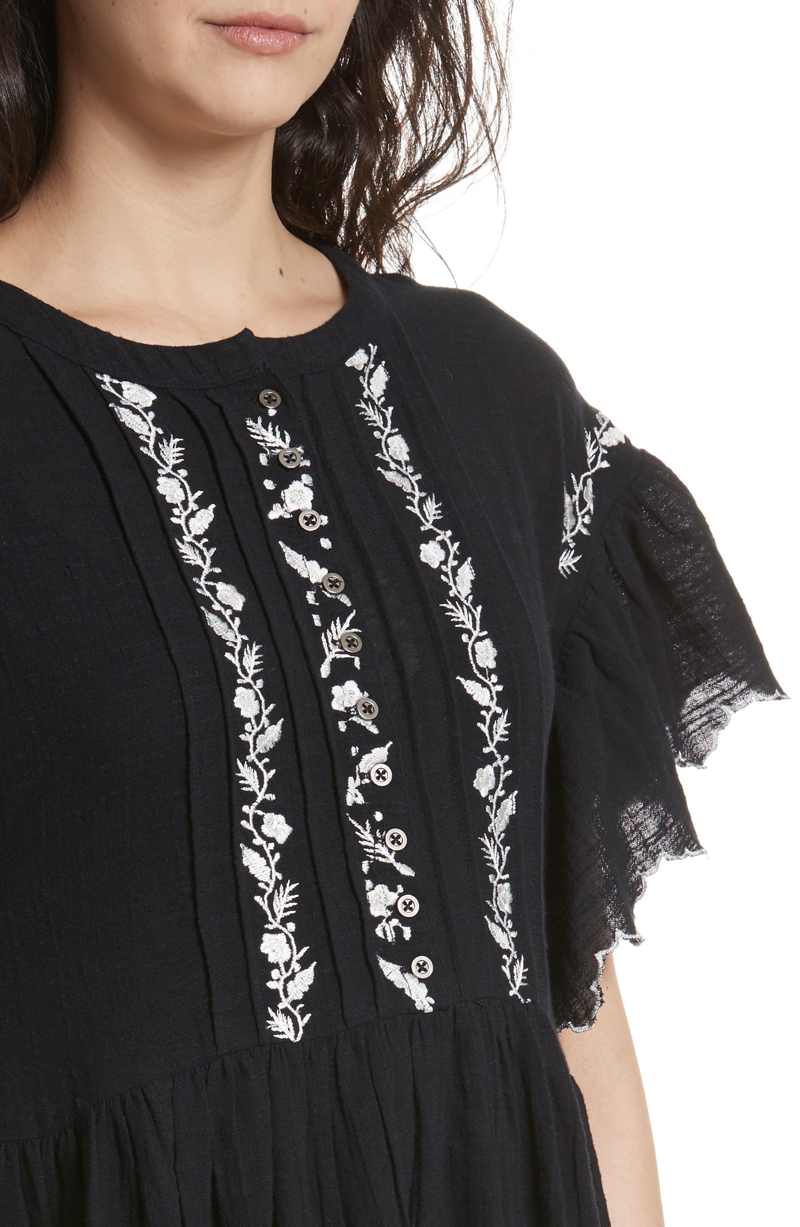 Santiago Embroidered Minidress,                             Alternate thumbnail 4, color,                             Black