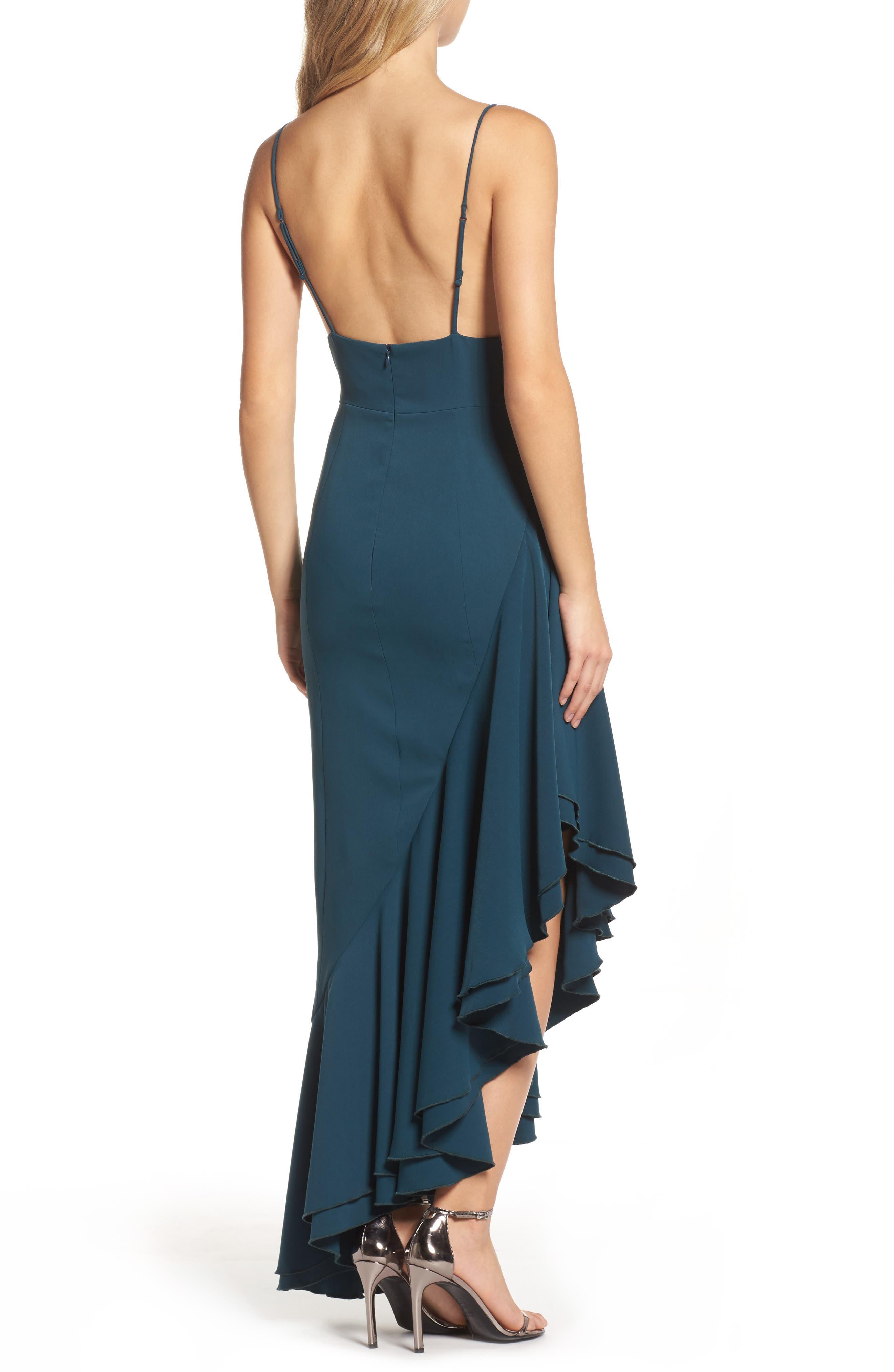 Temptation Asymmetrical Gown,                             Alternate thumbnail 3, color,                             Emerald