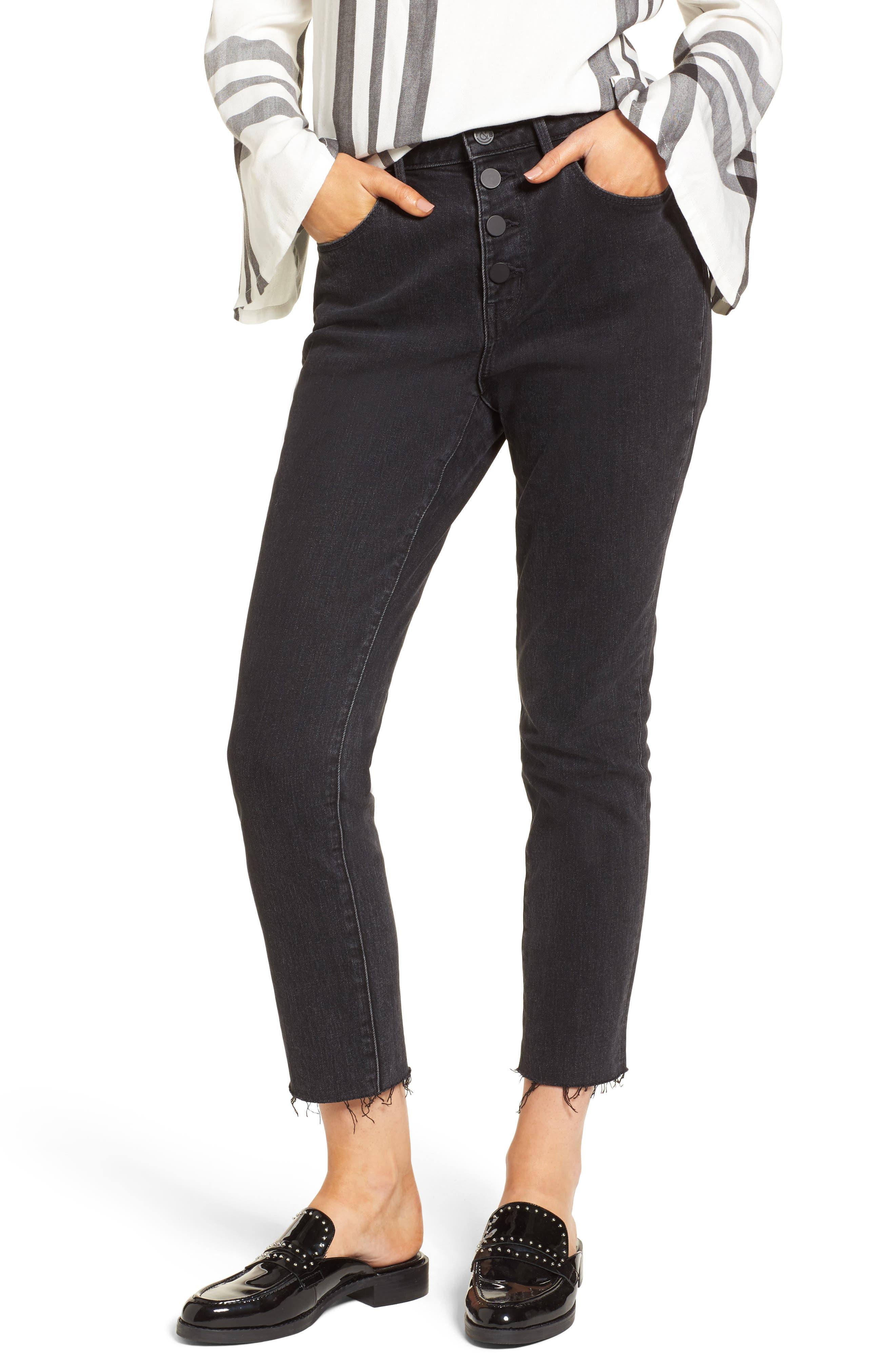 Main Image - Treasure & Bond Bond Loose Fit Ankle Skinny Jeans (Black Dark Vintage)