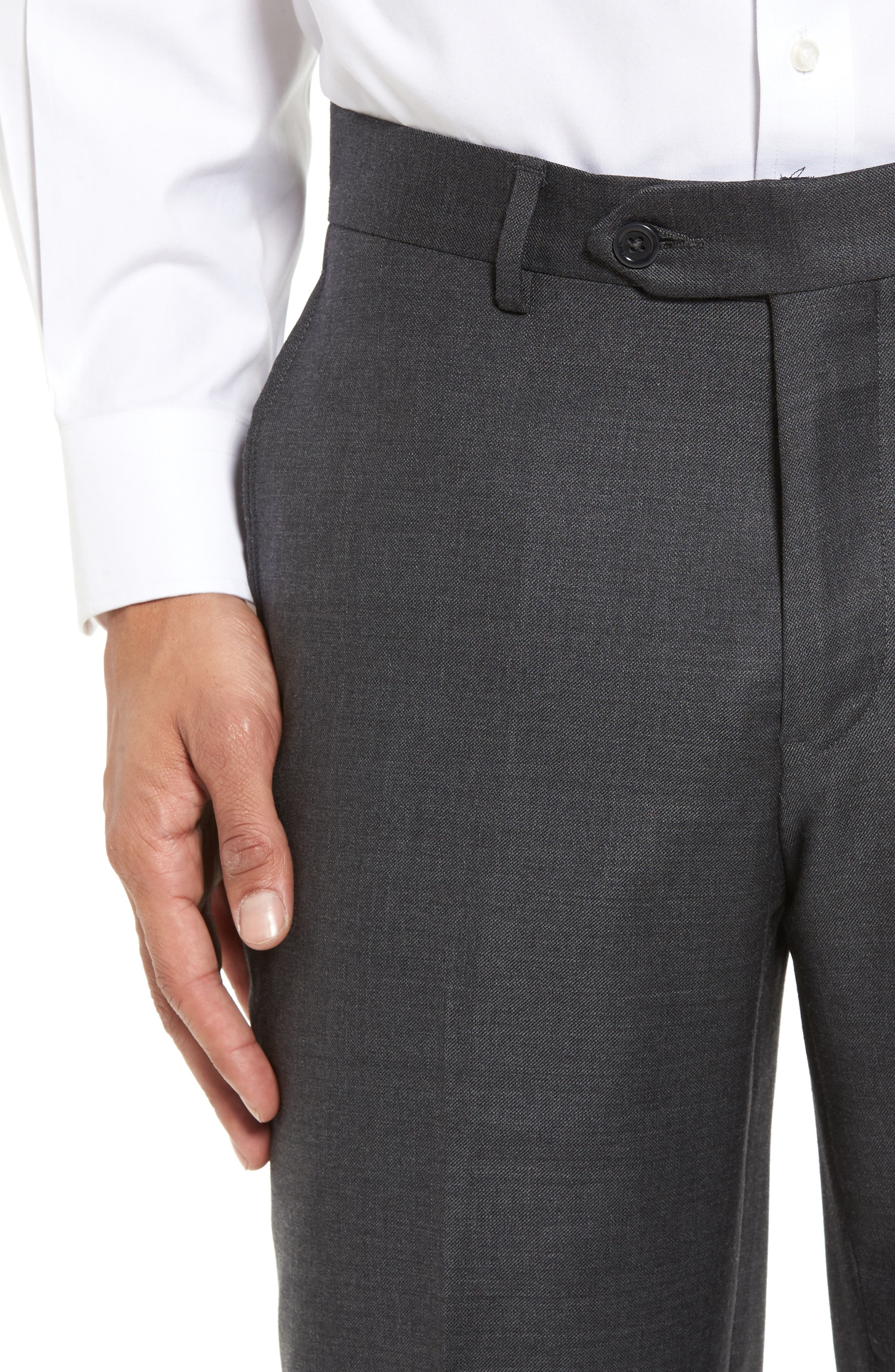 Flat Front Sharkskin Wool Trousers,                             Alternate thumbnail 4, color,                             Charcoal