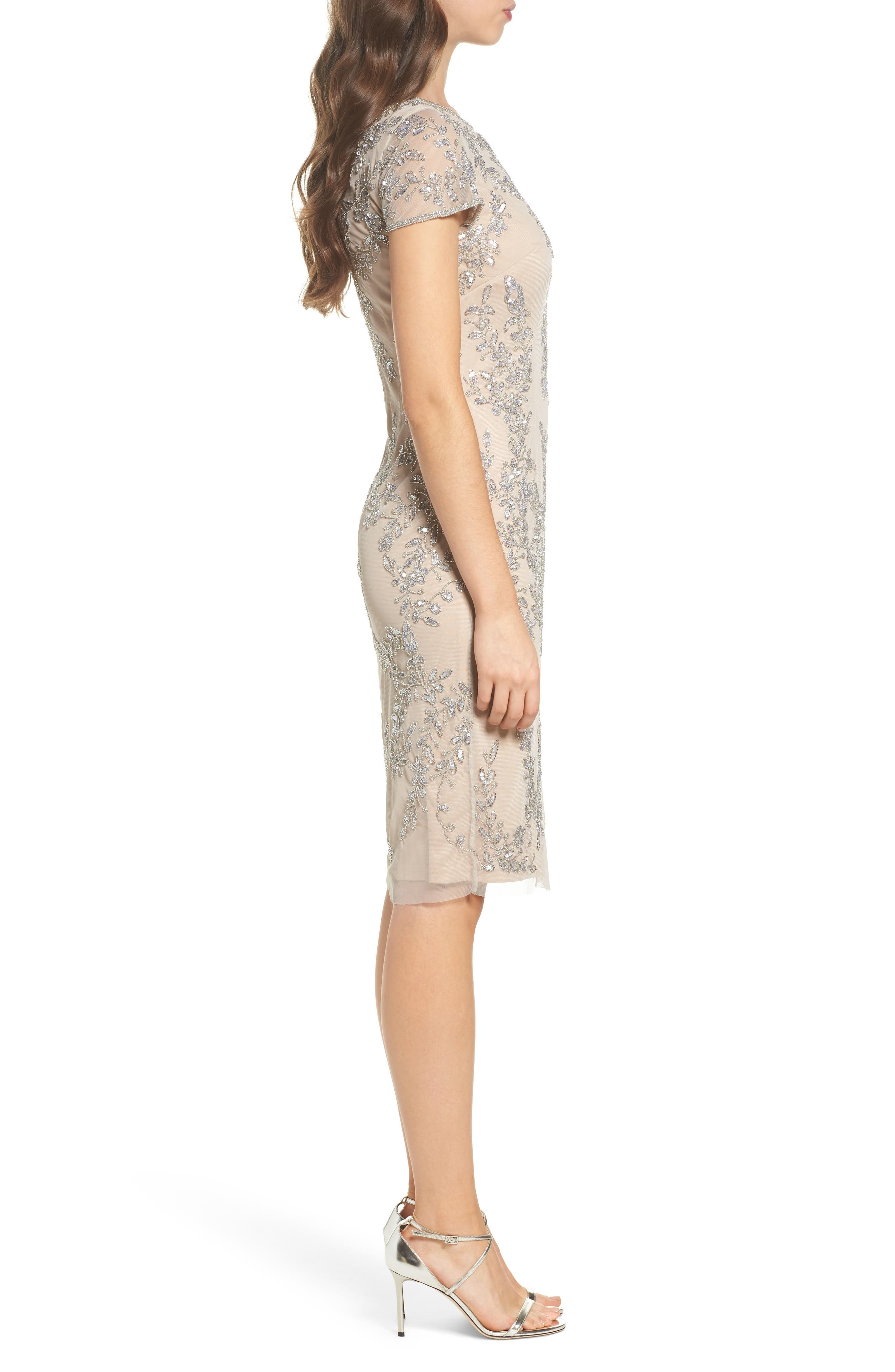 Beaded Sheath Dress,                             Alternate thumbnail 3, color,                             Silver/ Nude