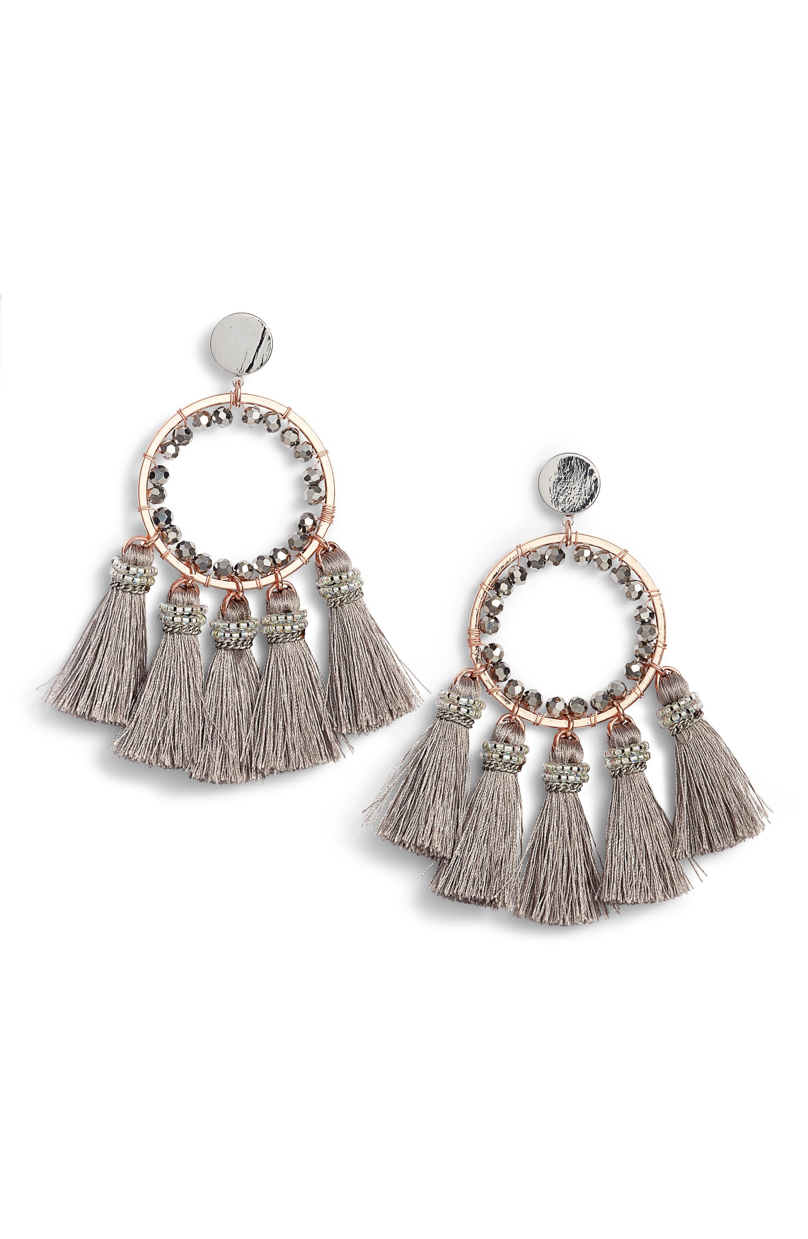 Tassel Hoop Earrings,                         Main,                         color, Grey