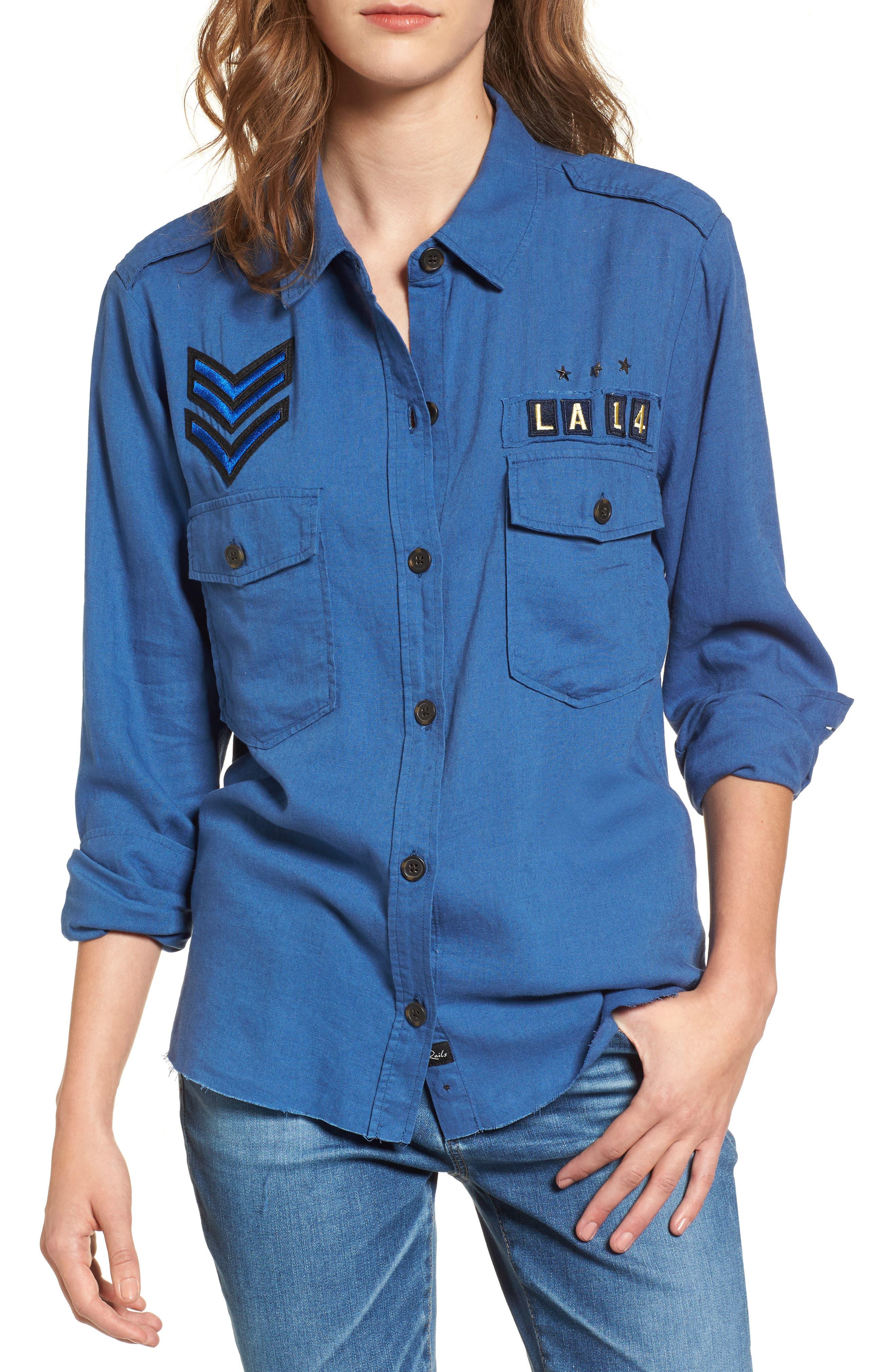 Banks Military Patch Shirt,                         Main,                         color, Indigo/ Military Patch