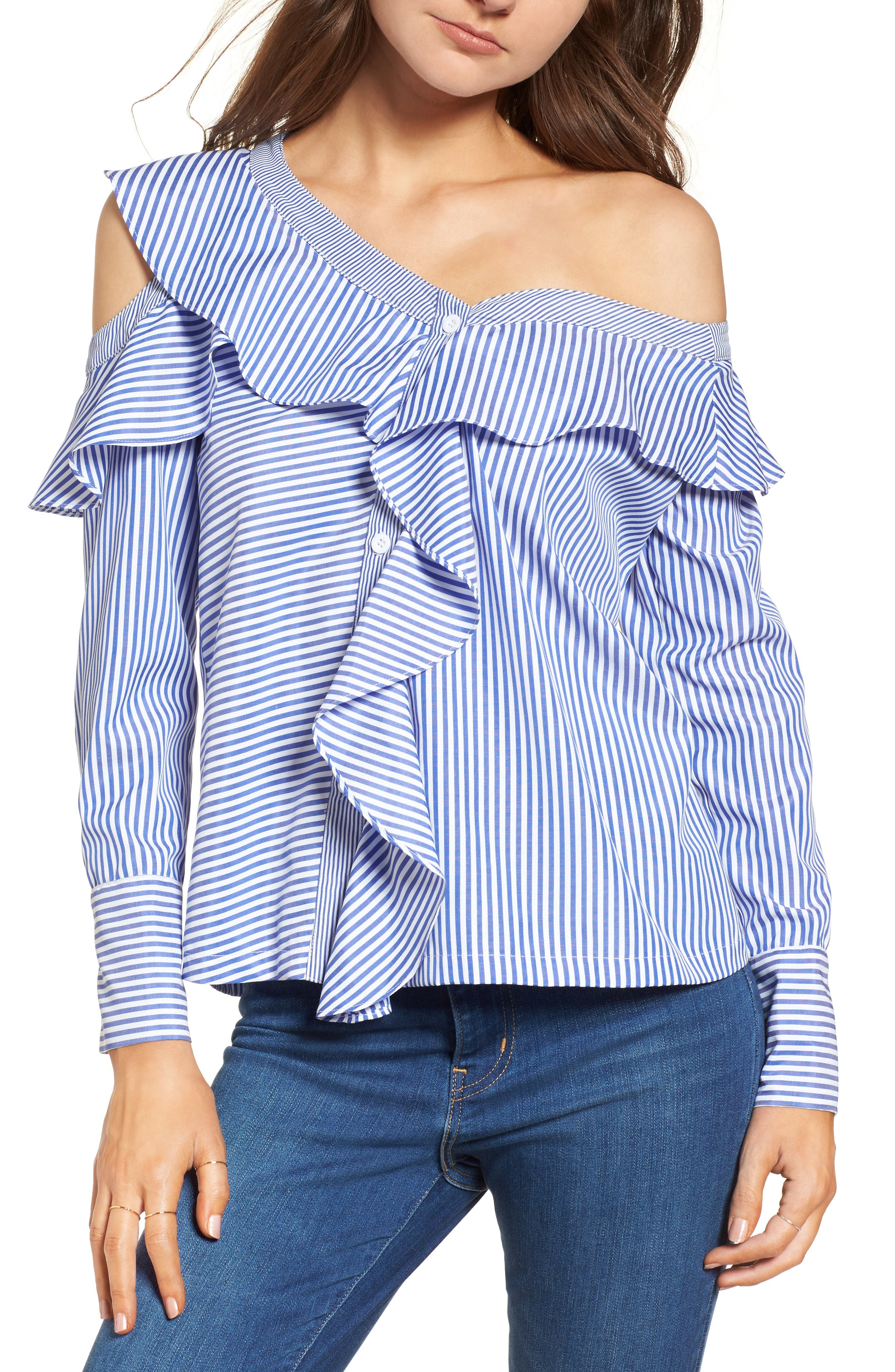 Asymmetrical Open Shoulder Ruffle Top,                             Main thumbnail 1, color,                             Blue/ White Stripe