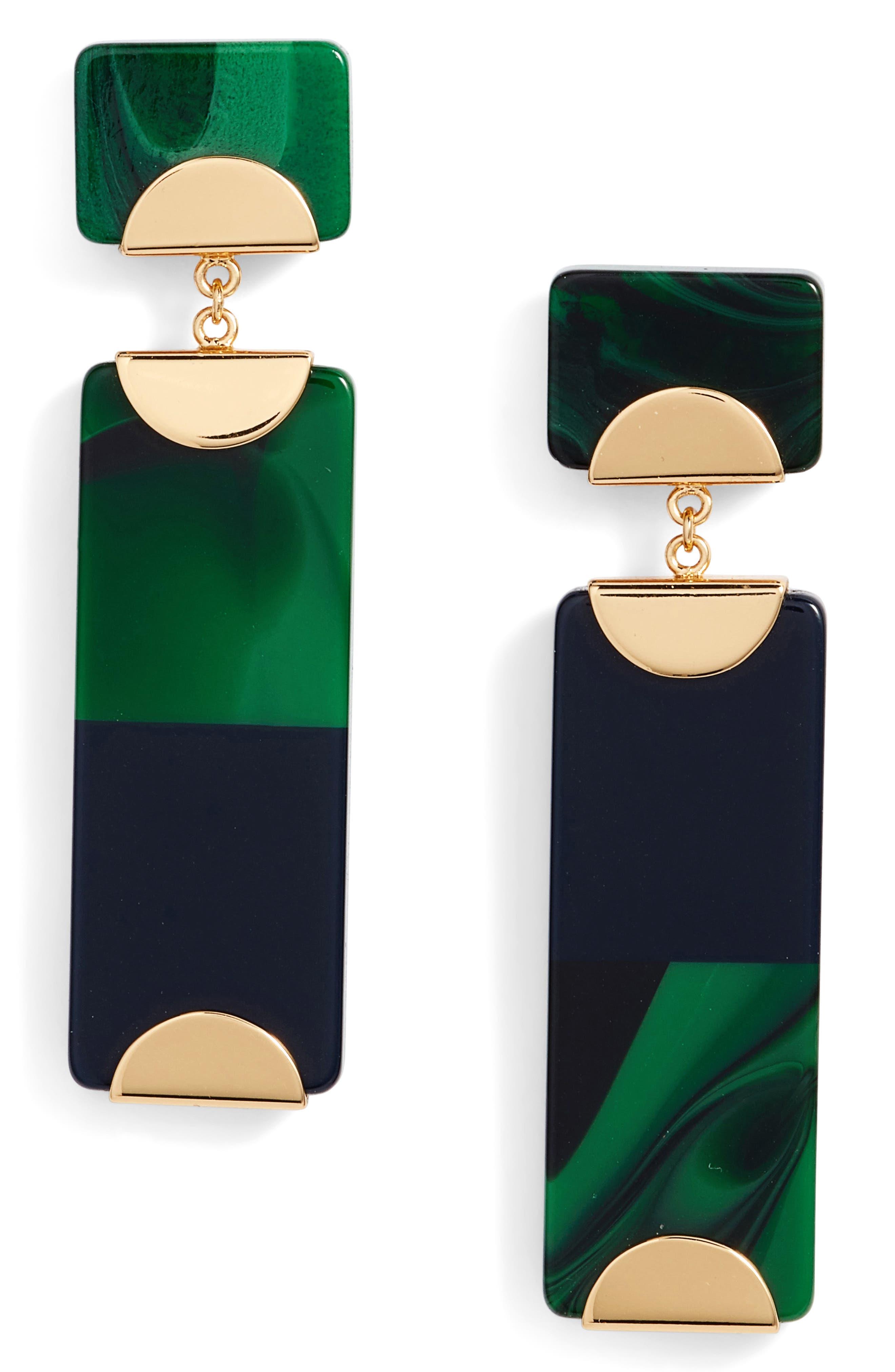 Resin Colorblock Drop Earrings,                             Main thumbnail 1, color,                             Malachite/ Tory Navy
