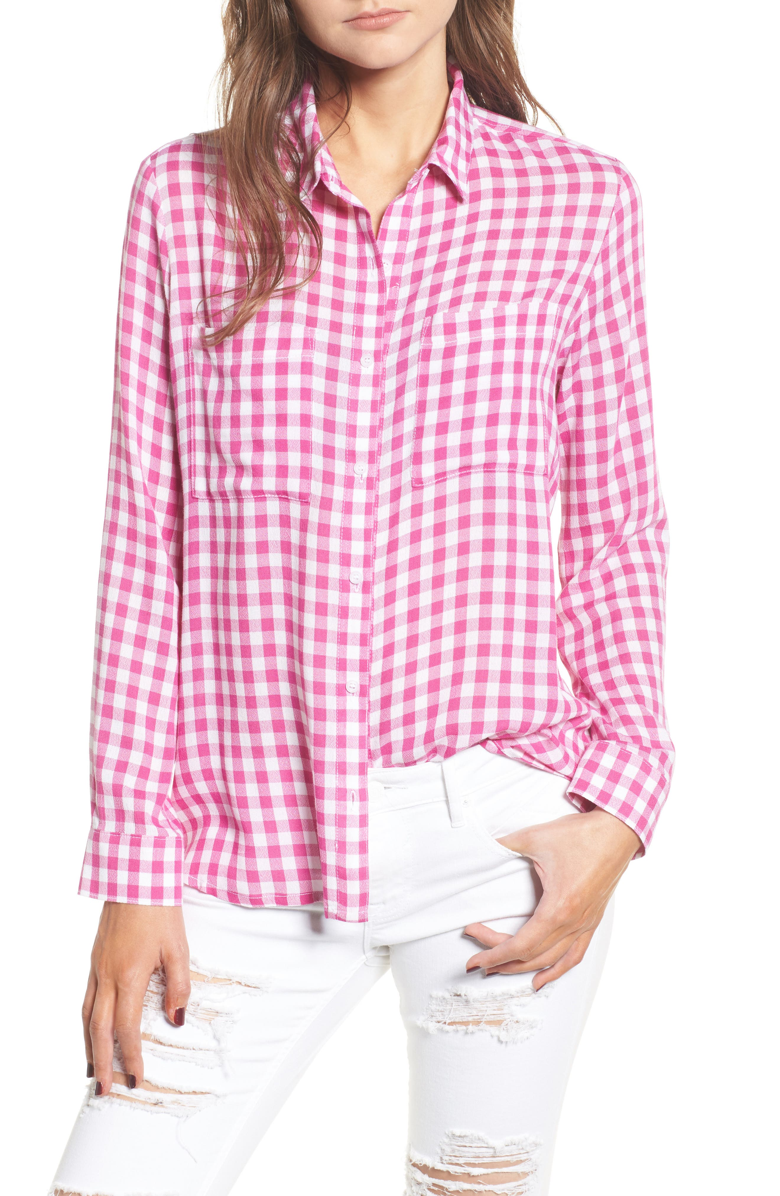 The Perfect Shirt,                         Main,                         color, Pink Cyclamen Annette Check